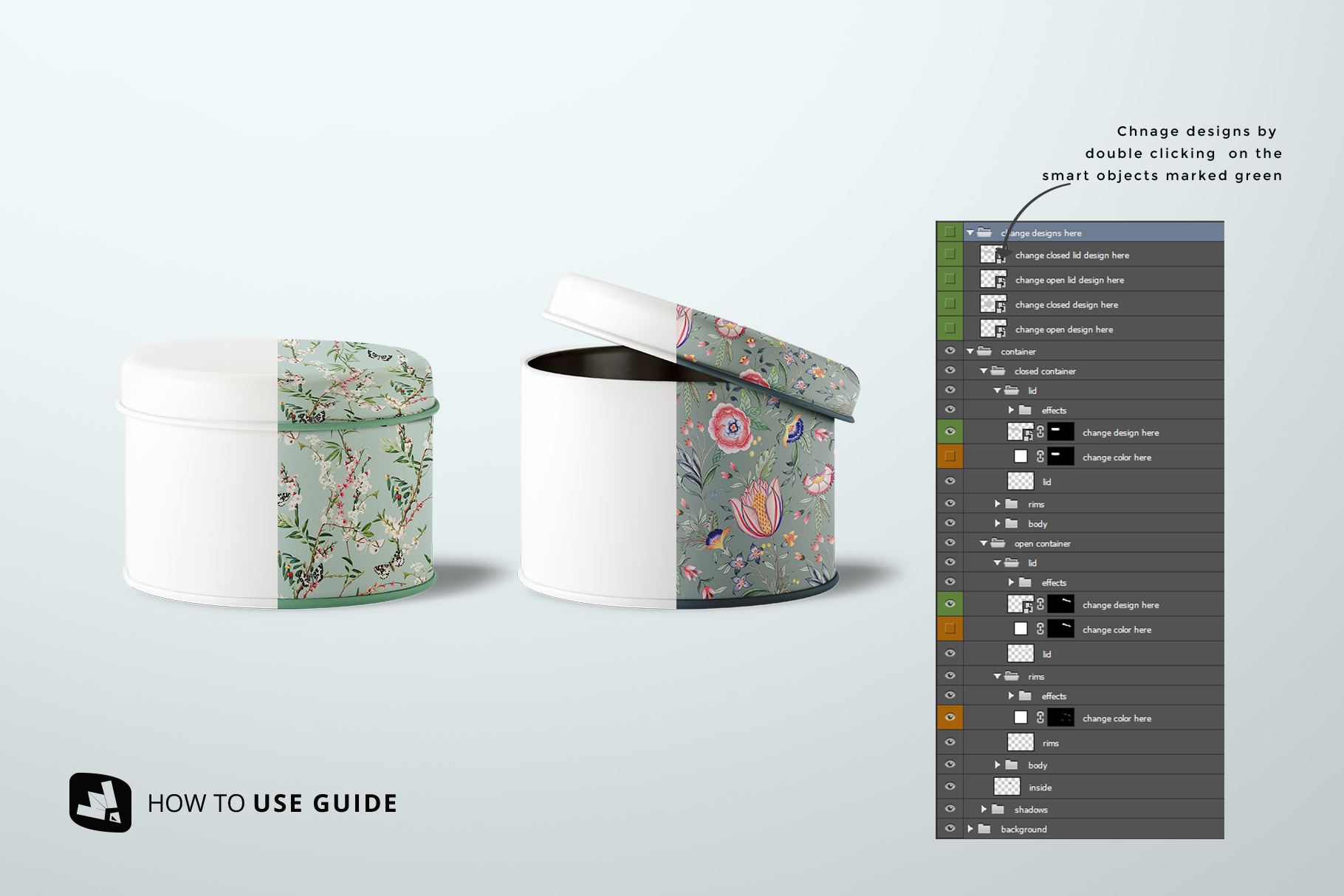 how to change design of the front view cylindrical container mockup