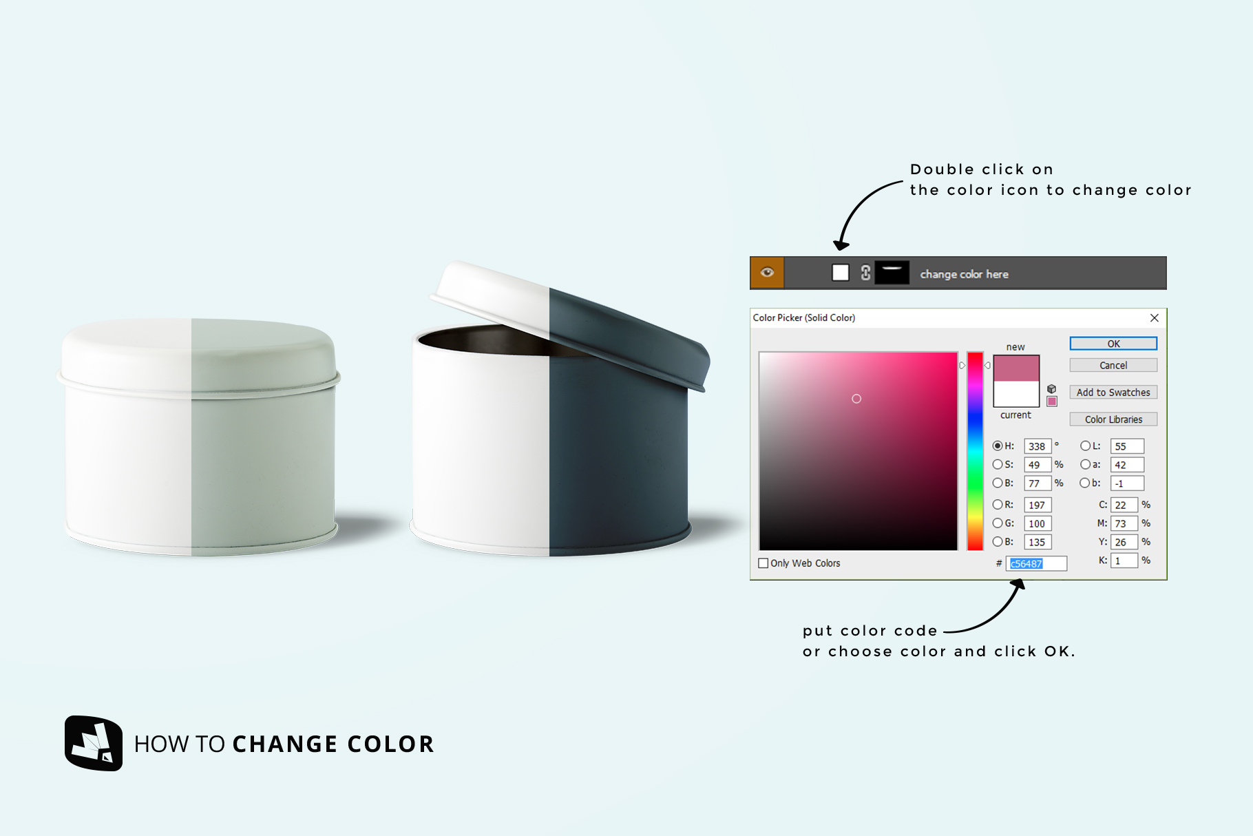 how to change color of the front view cylindrical container mockup