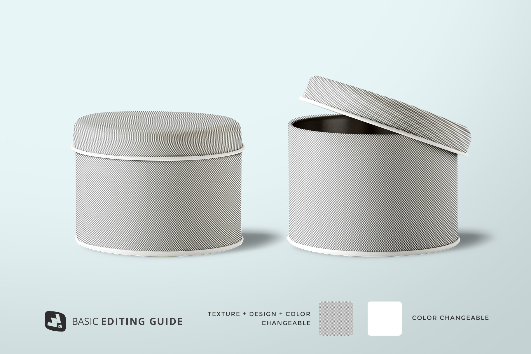 ediatbility of the front view cylindrical container mockup