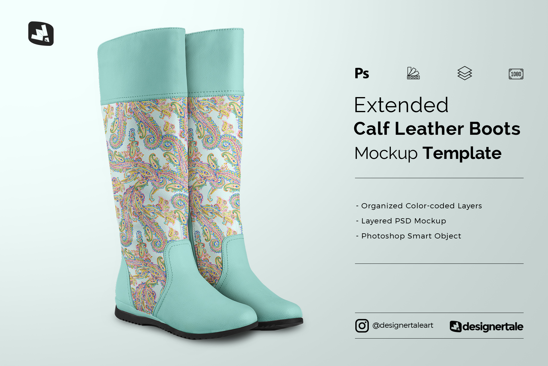 extended calf leather boots mockup