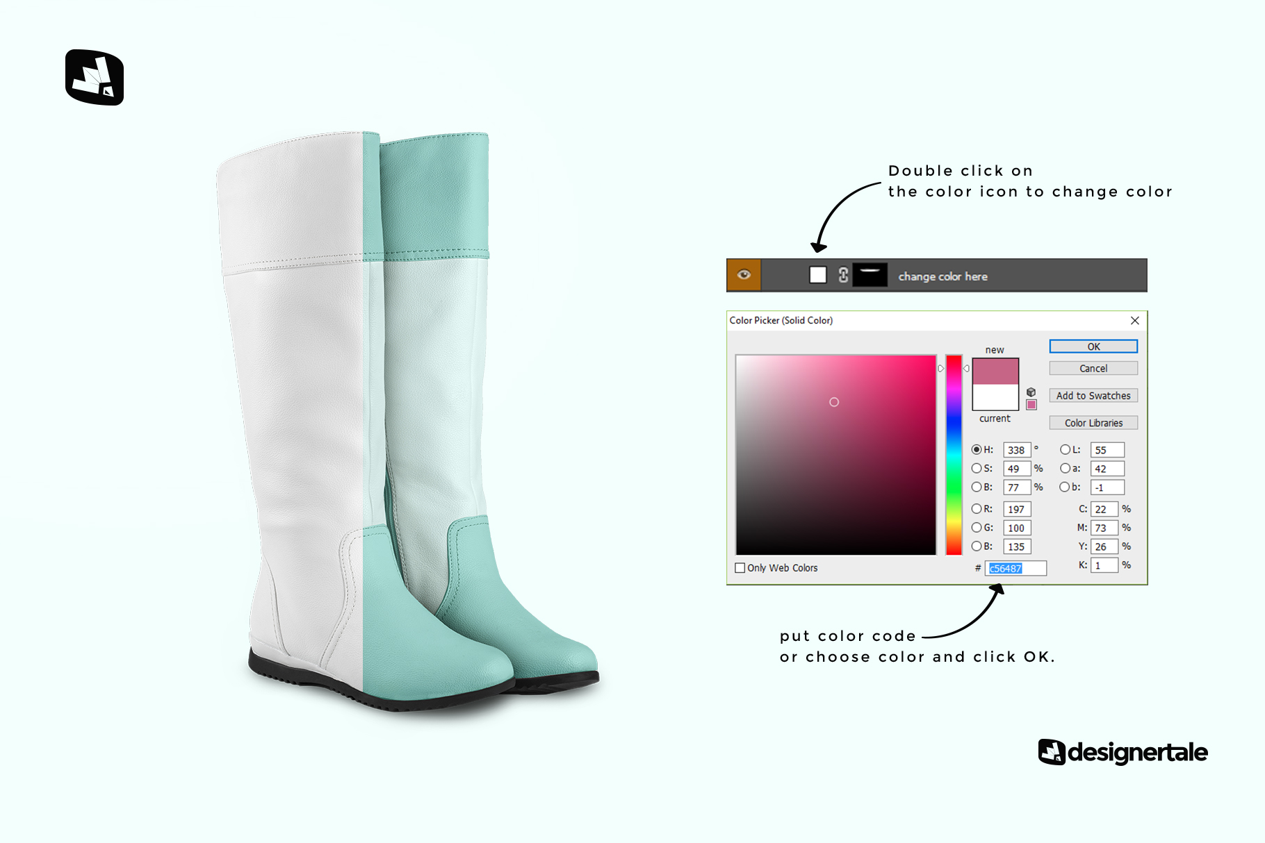 how to change color of the extended calf leather boots mockup