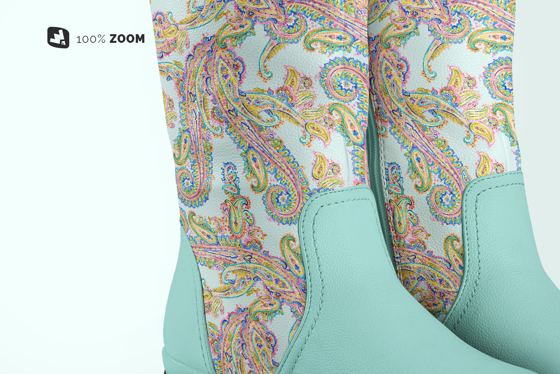 zoomed in image of the extended calf leather boots mockup