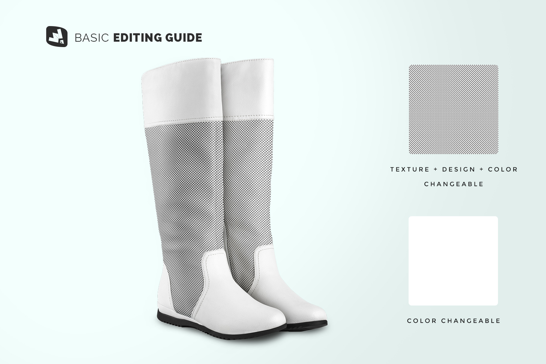 editability of the extended calf leather boots mockup