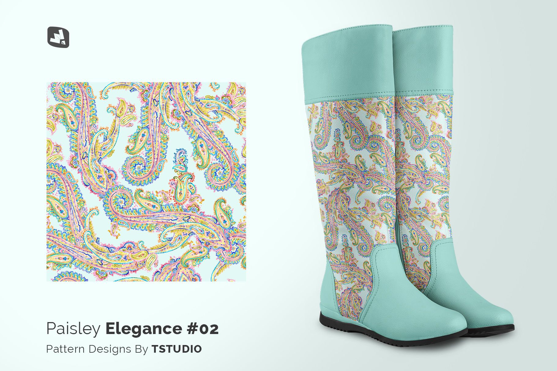 designer's credit of the extended calf leather boots mockup