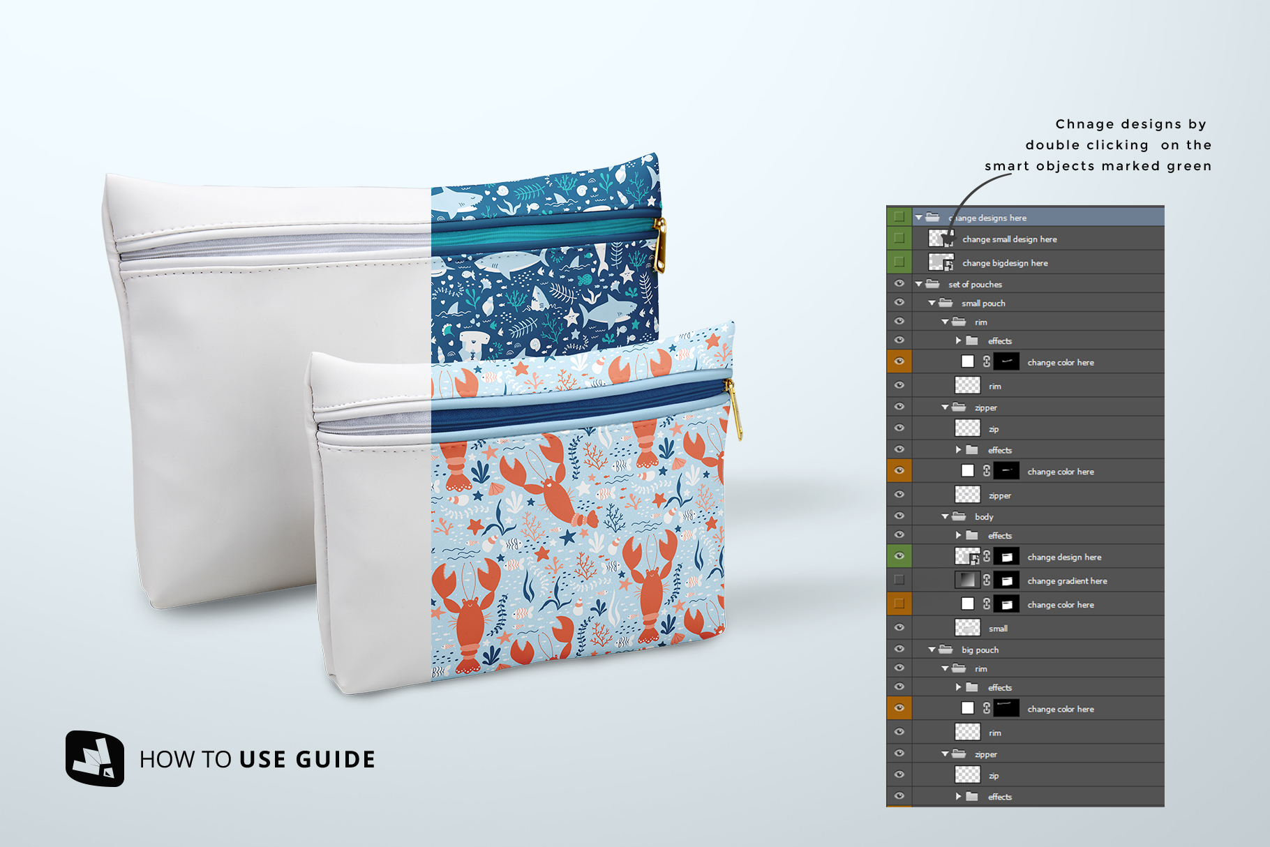 how to change design of the set of travel bathroom pouches mockup