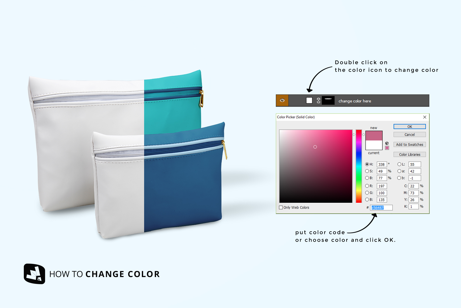 how to change color of the set of travel bathroom pouches mockup