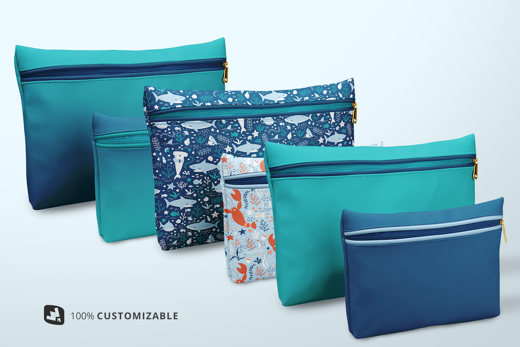 types of the set of travel bathroom pouches mockup