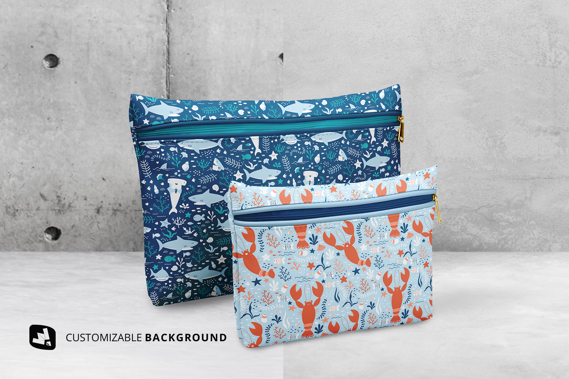 background options of the set of travel bathroom pouches mockup