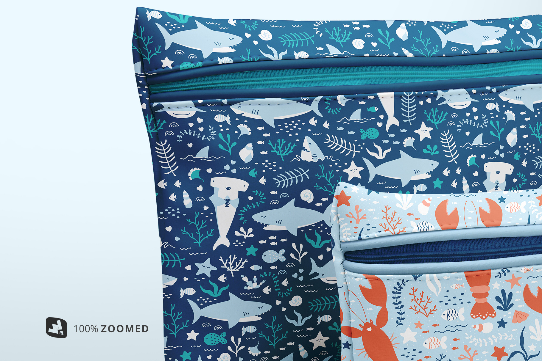zoomed in image of the set of travel bathroom pouches mockup