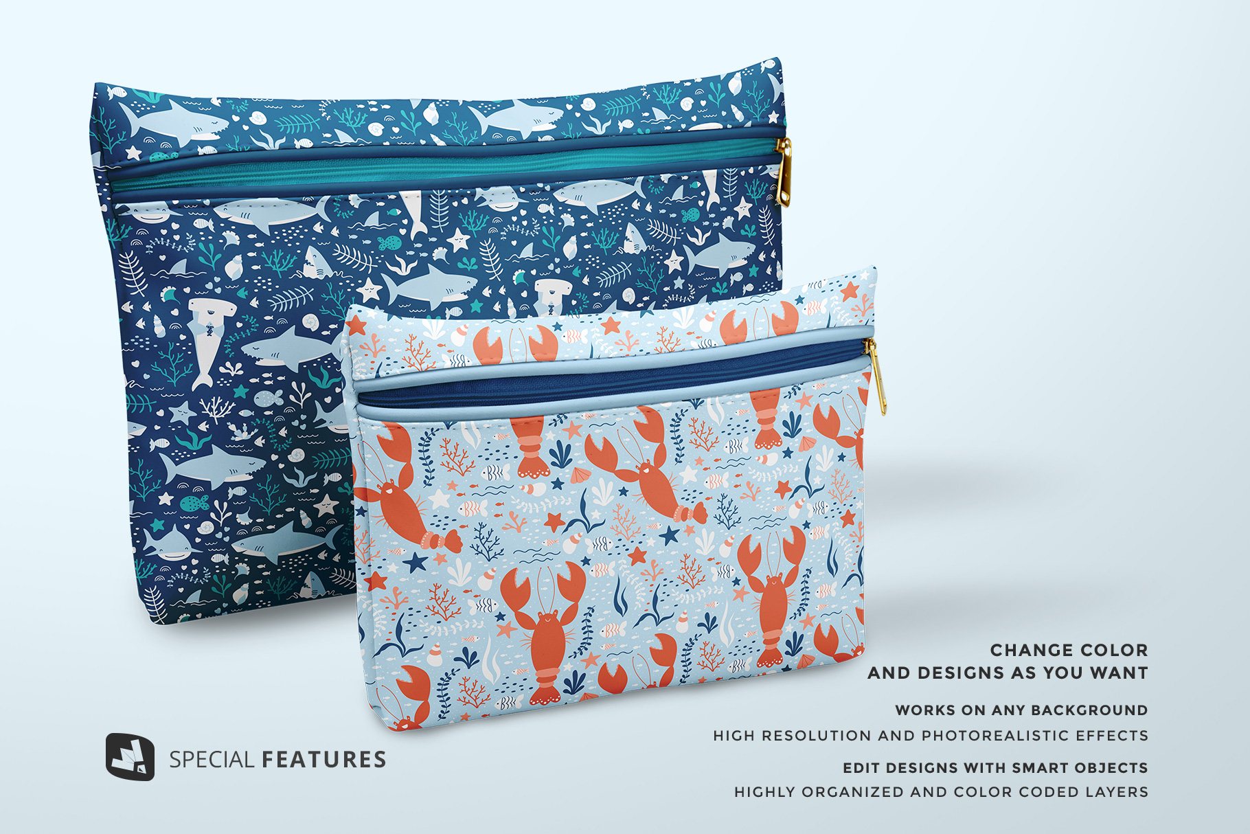 special features of the set of travel bathroom pouches mockup