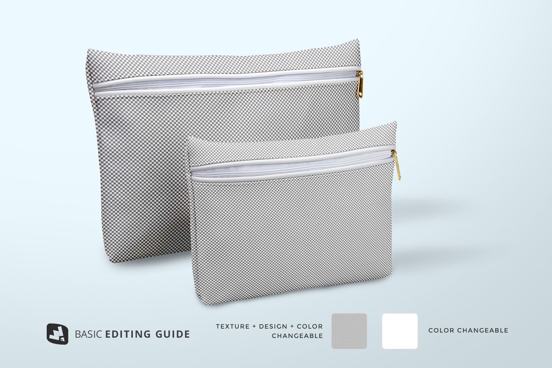 editability of the set of travel bathroom pouches mockup