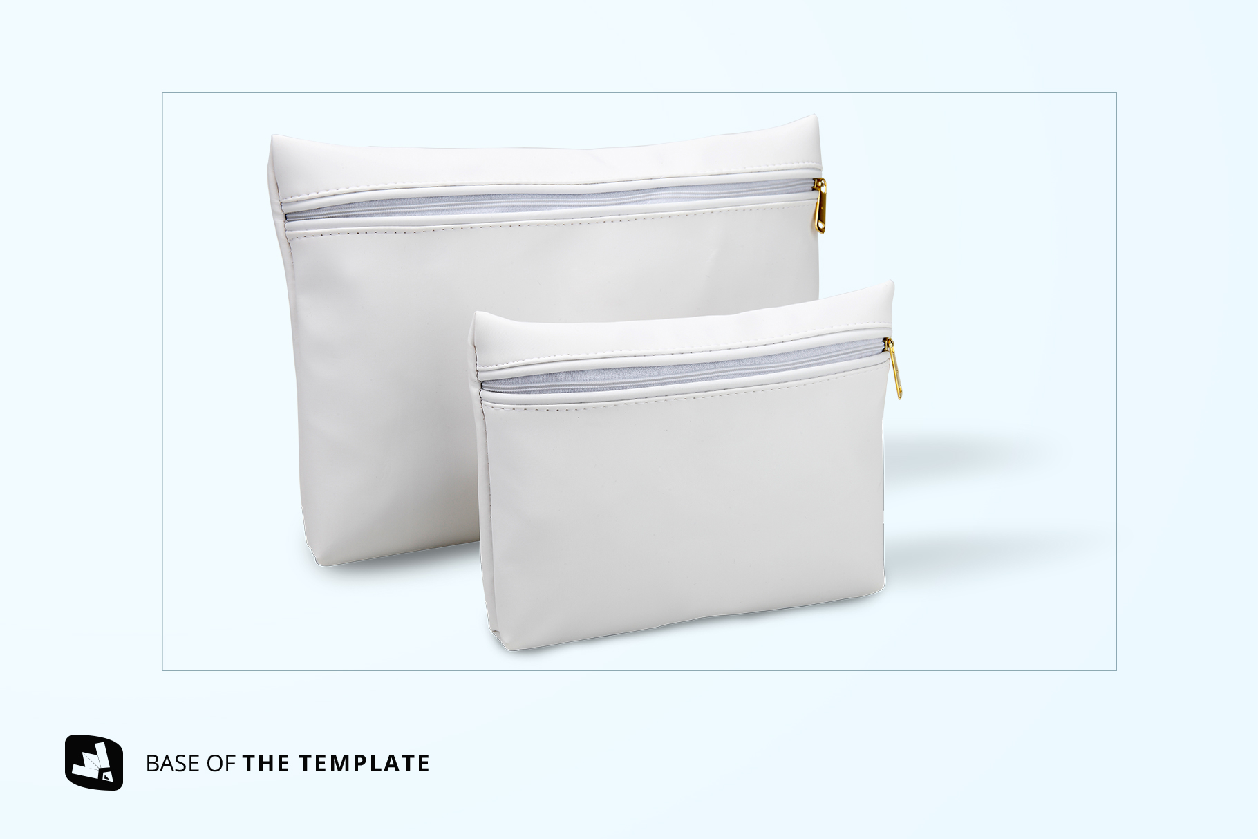 base image of the set of travel bathroom pouches mockup