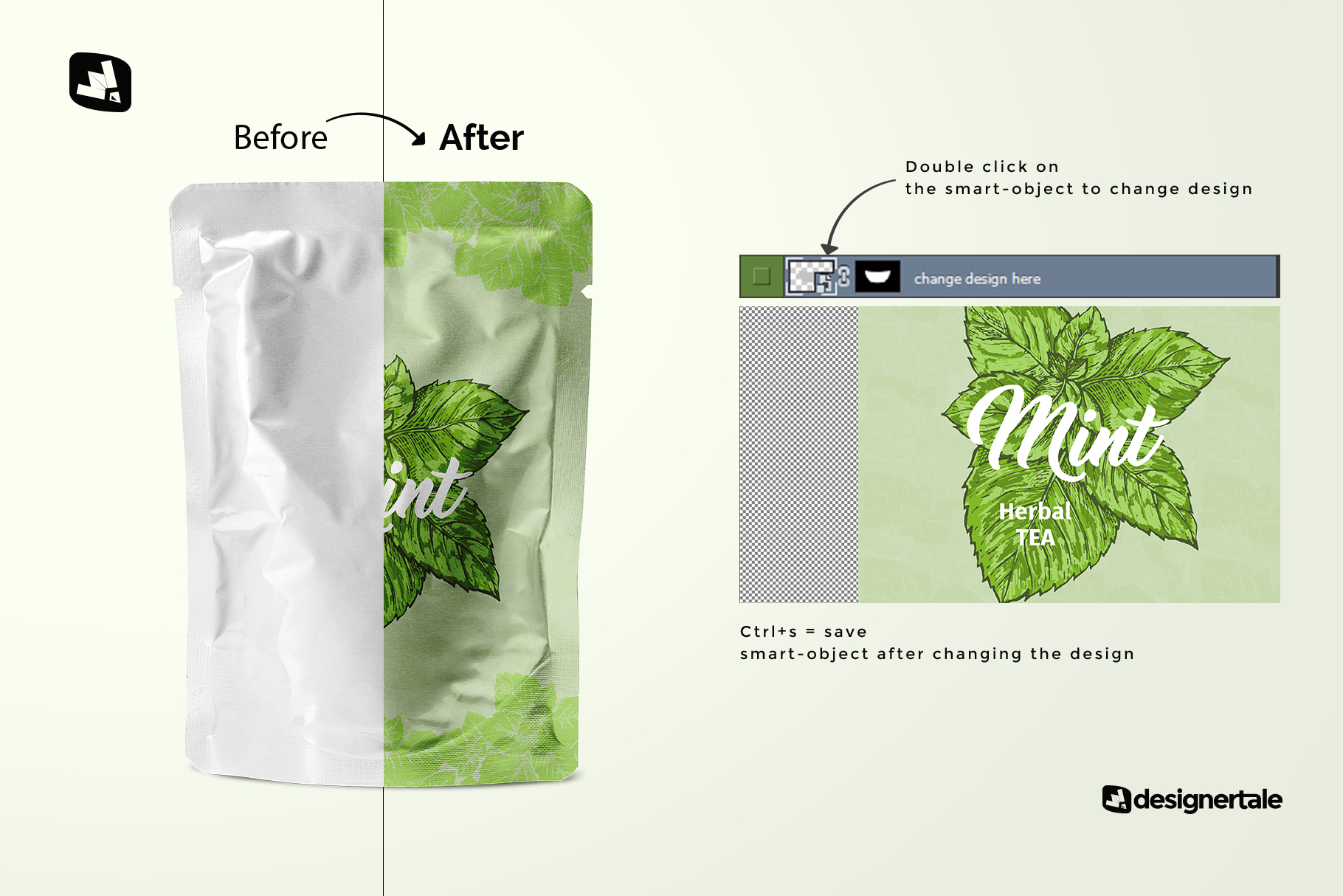 how to change design of the flexible foil pouch packaging mockup