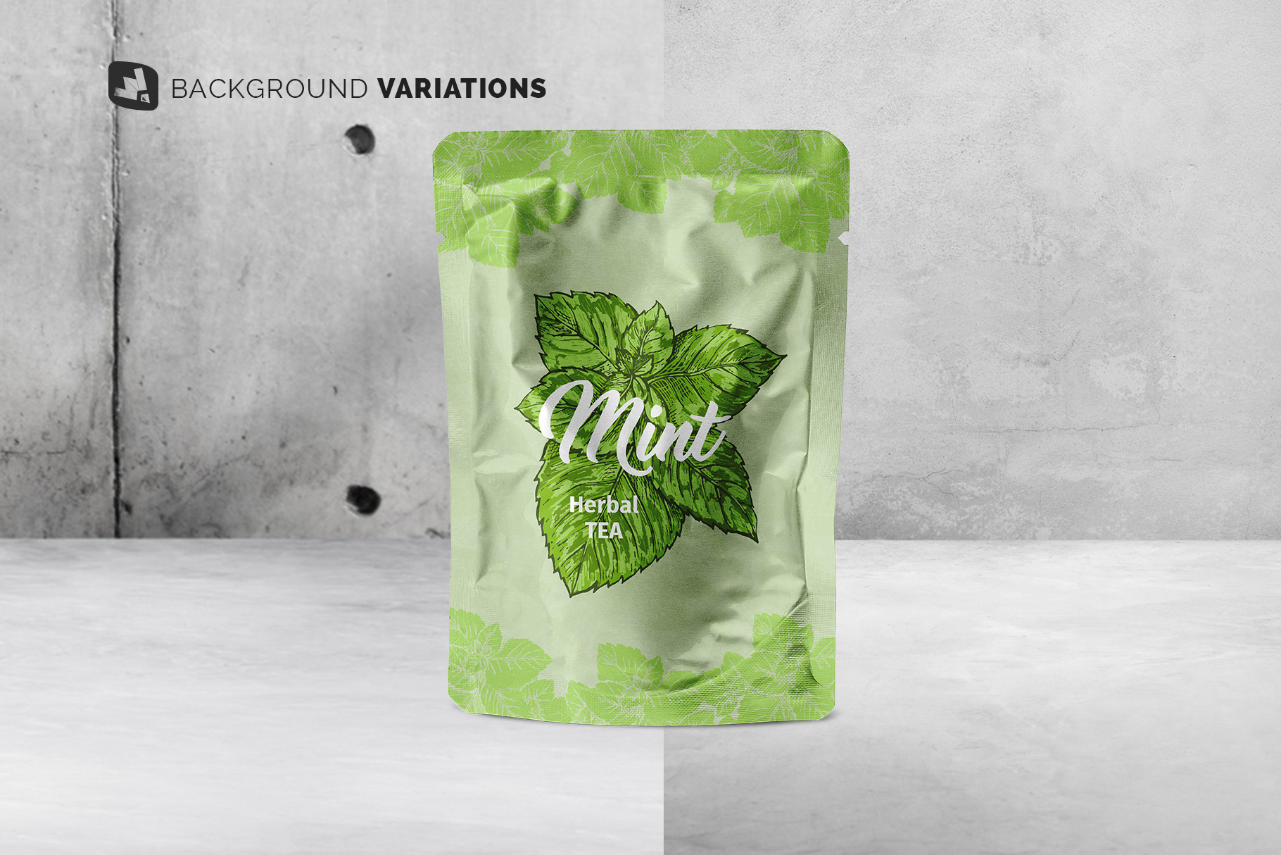 background options of the flexible foil pouch packaging mockup