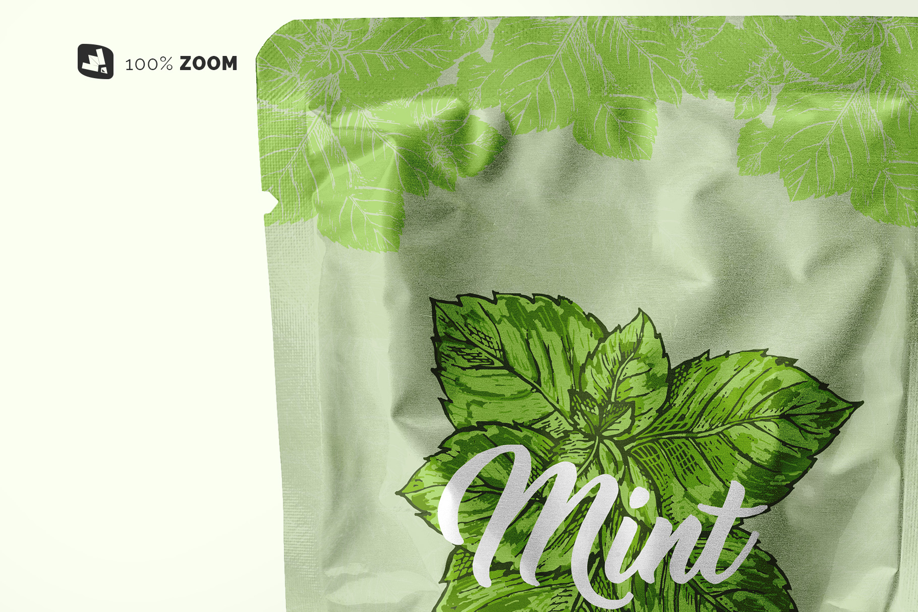 zoomed in image of the flexible foil pouch packaging mockup