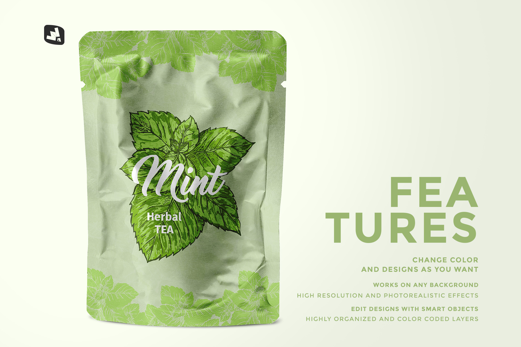 features of the flexible foil pouch packaging mockup