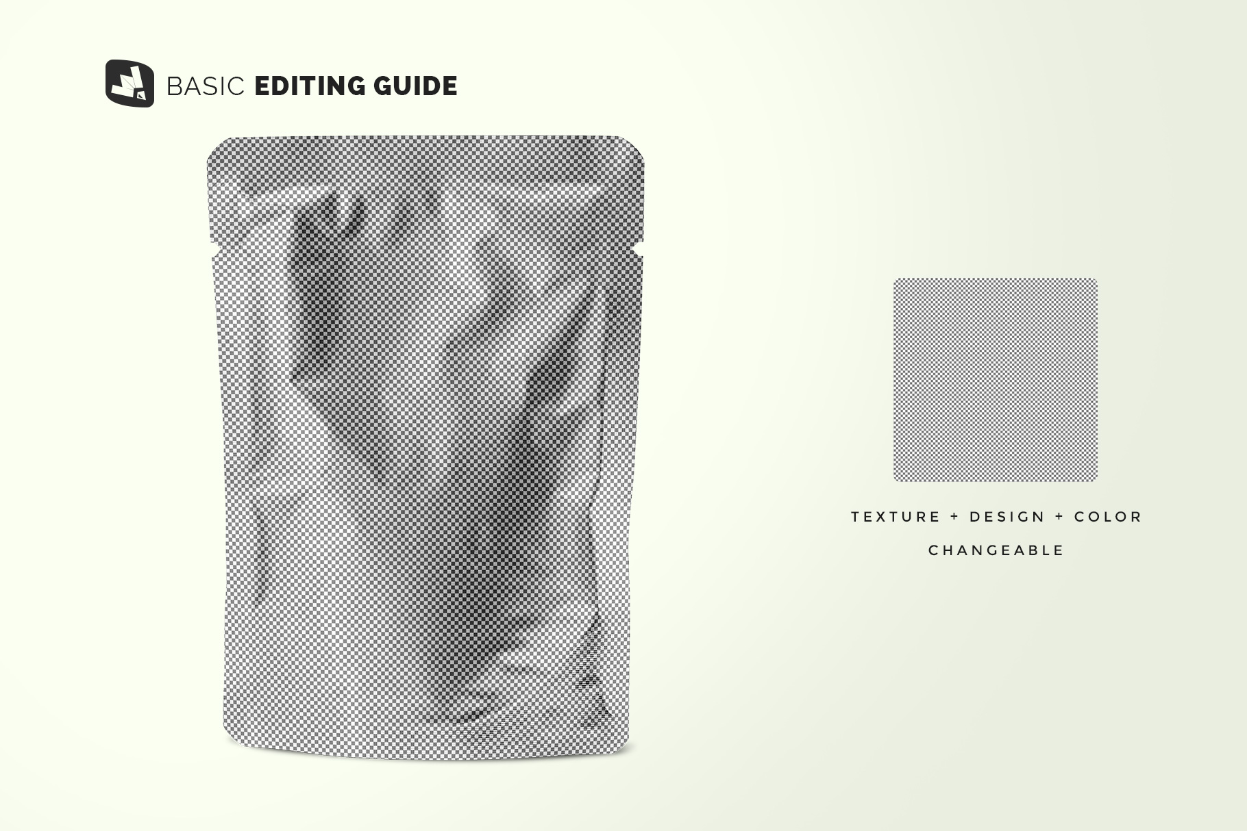 editability of the flexible foil pouch packaging mockup
