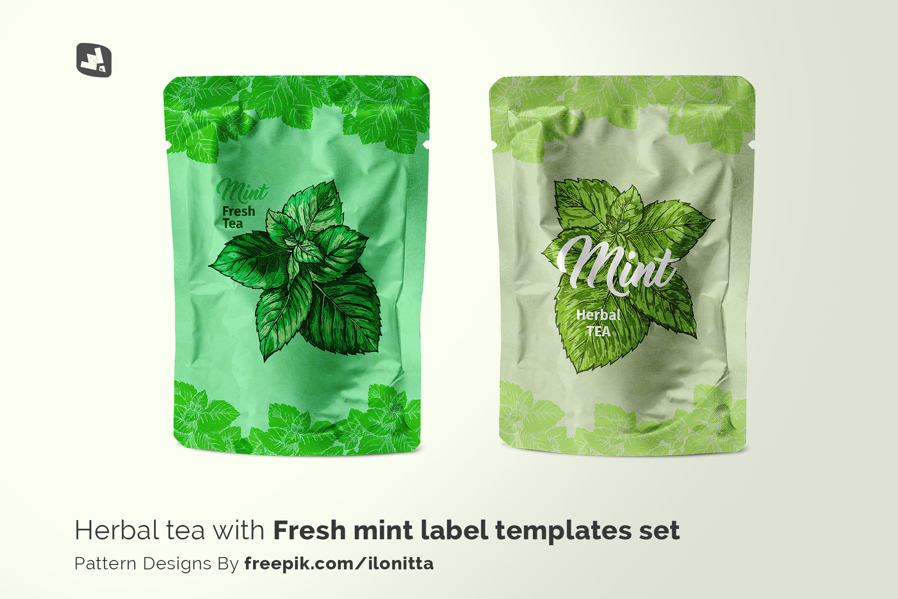 designer's credit of the flexible foil pouch packaging mockup