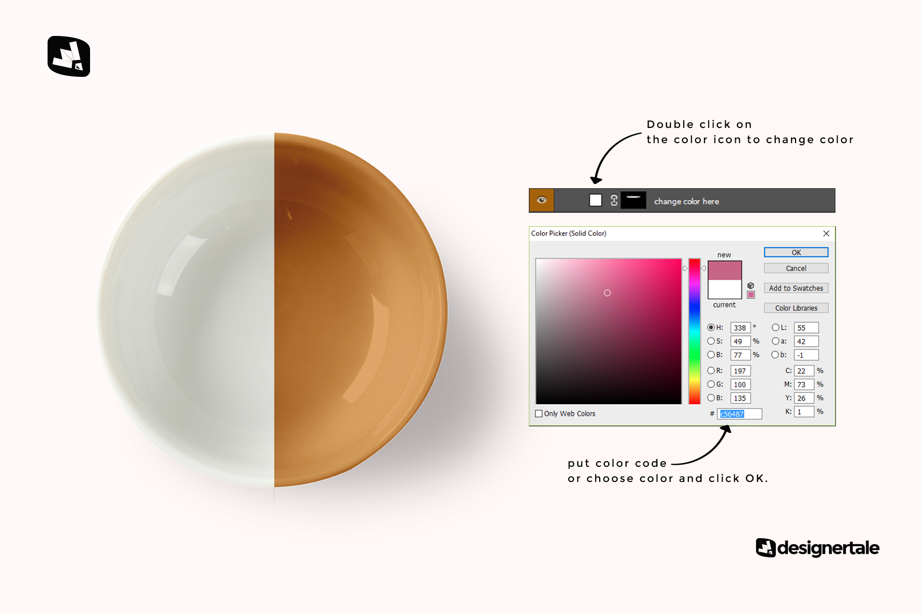 how to change color of the top view deep ceramic bowl mockup