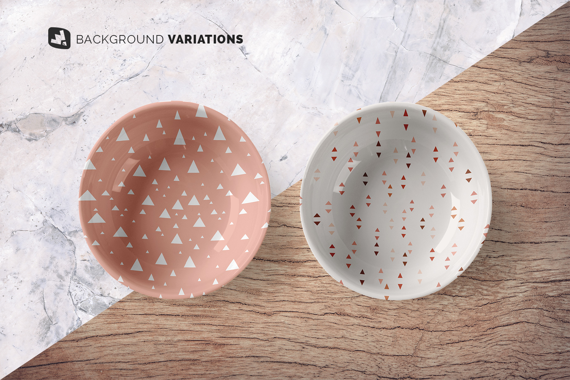 background options of the top view deep ceramic bowl mockup