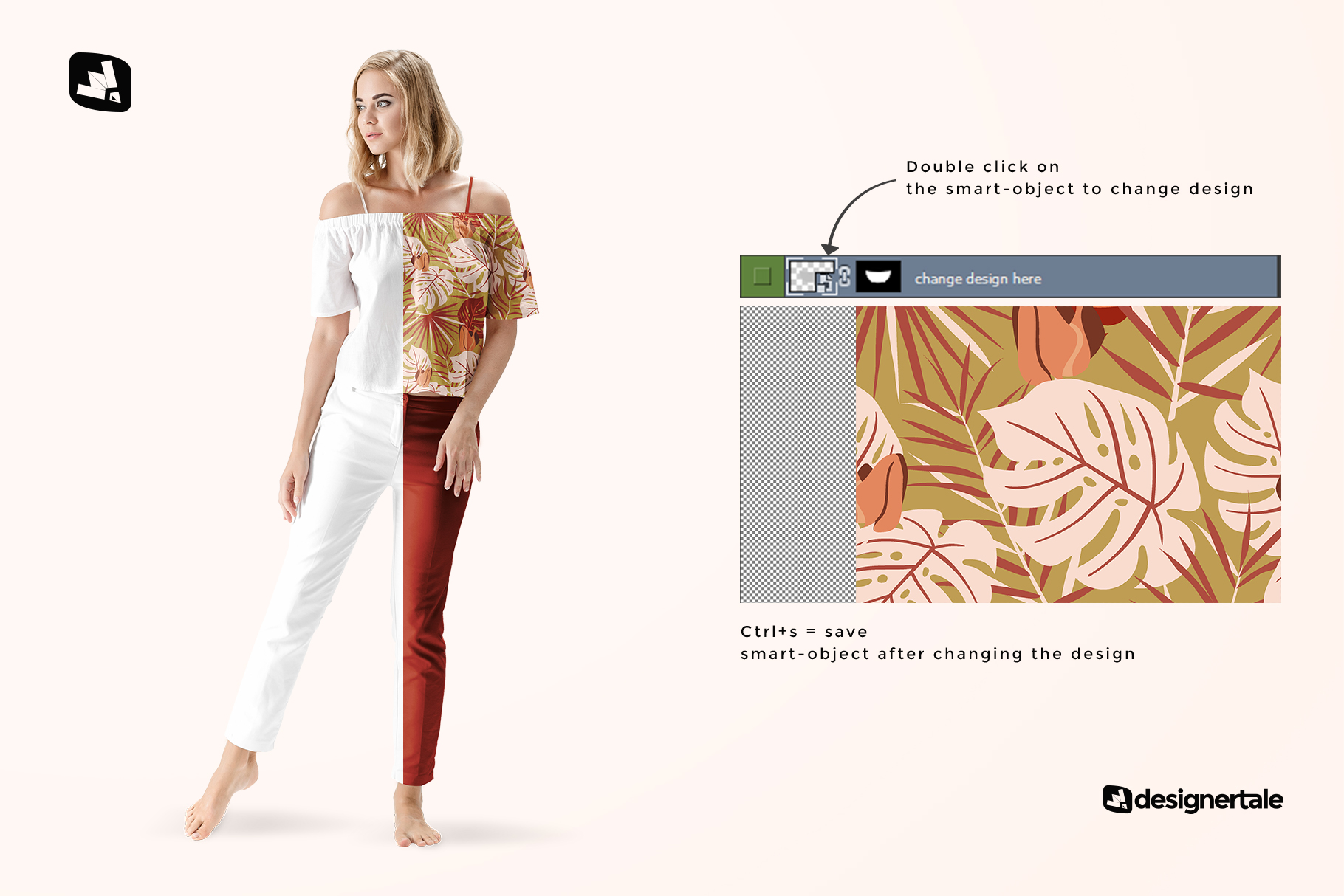 how to change design of the summer outfit mockup with female model