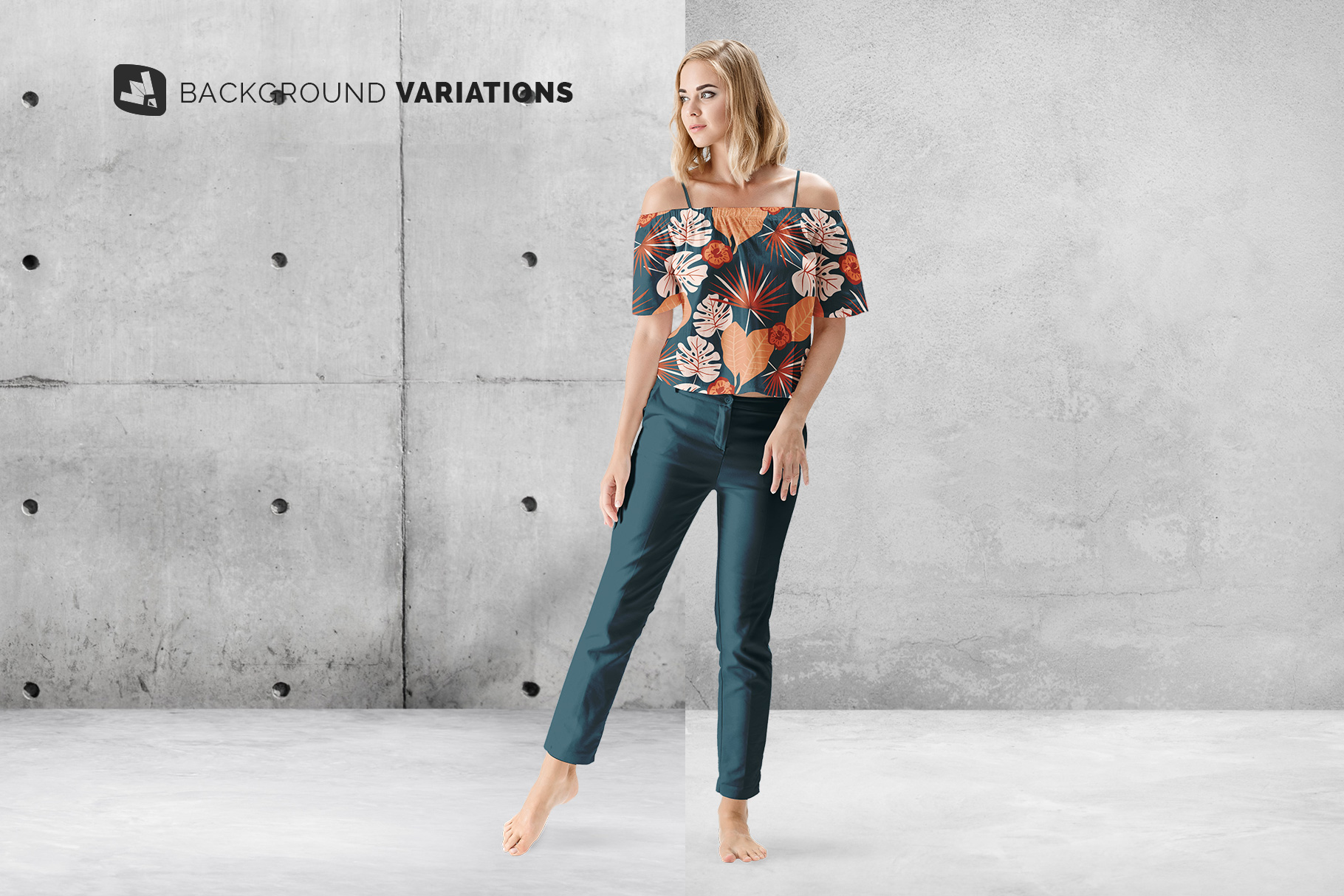 background options of the summer outfit mockup with female model
