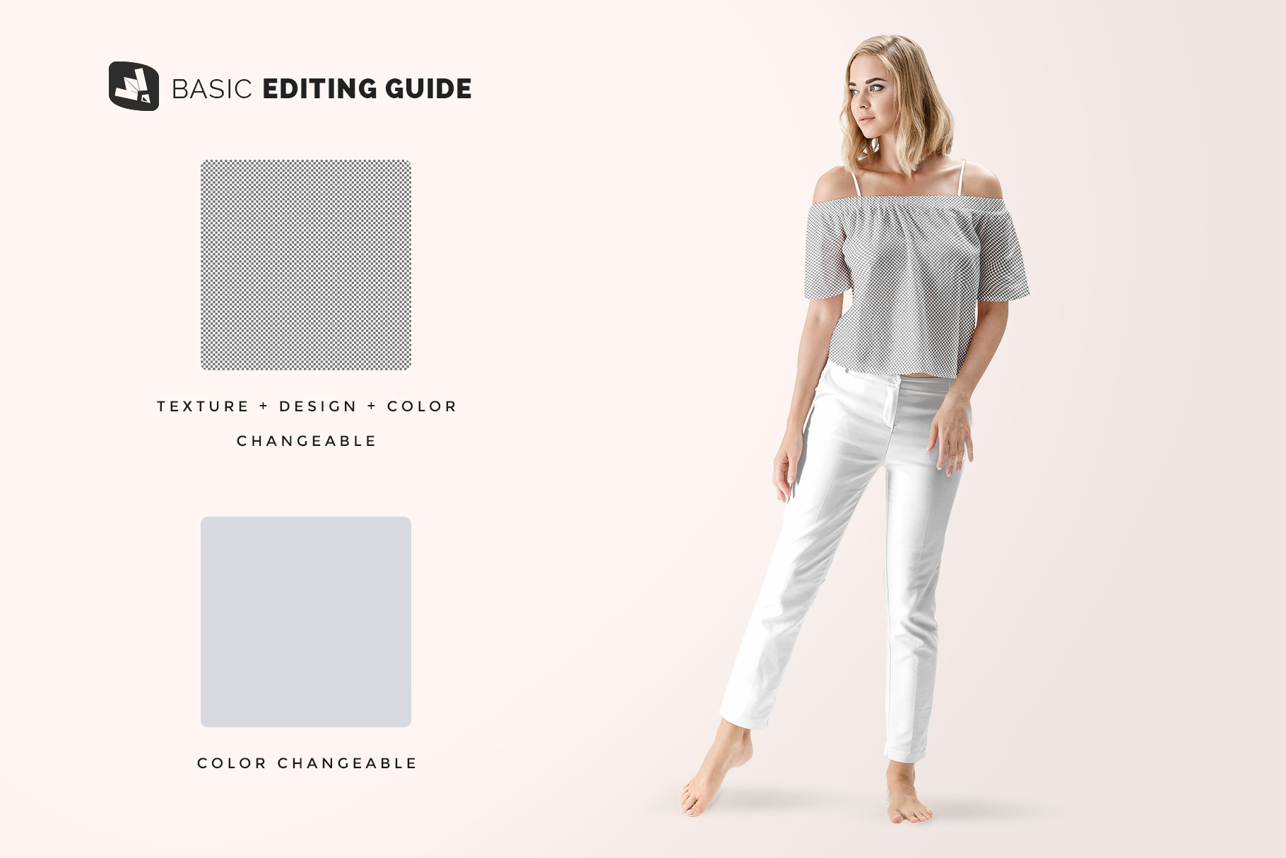 editability of the summer outfit mockup with female model