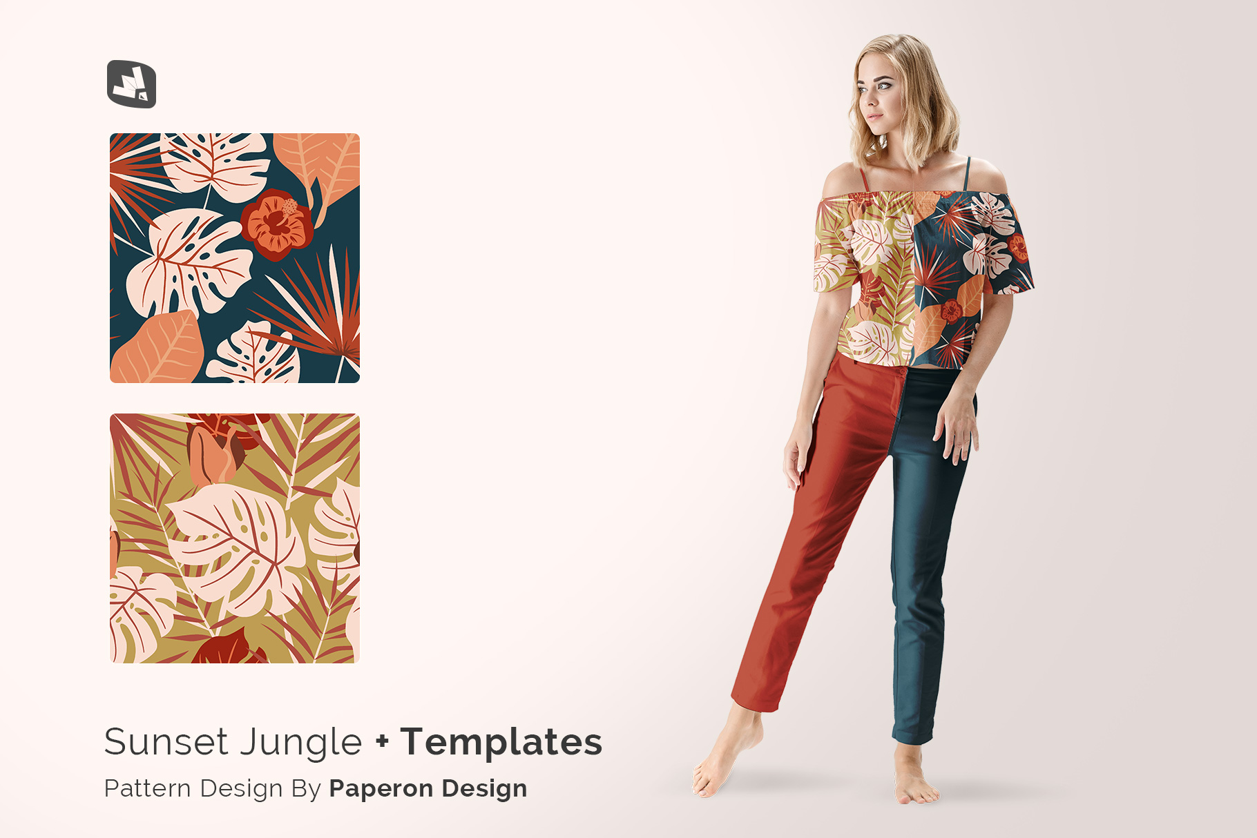 designer's credit of the summer outfit mockup with female model