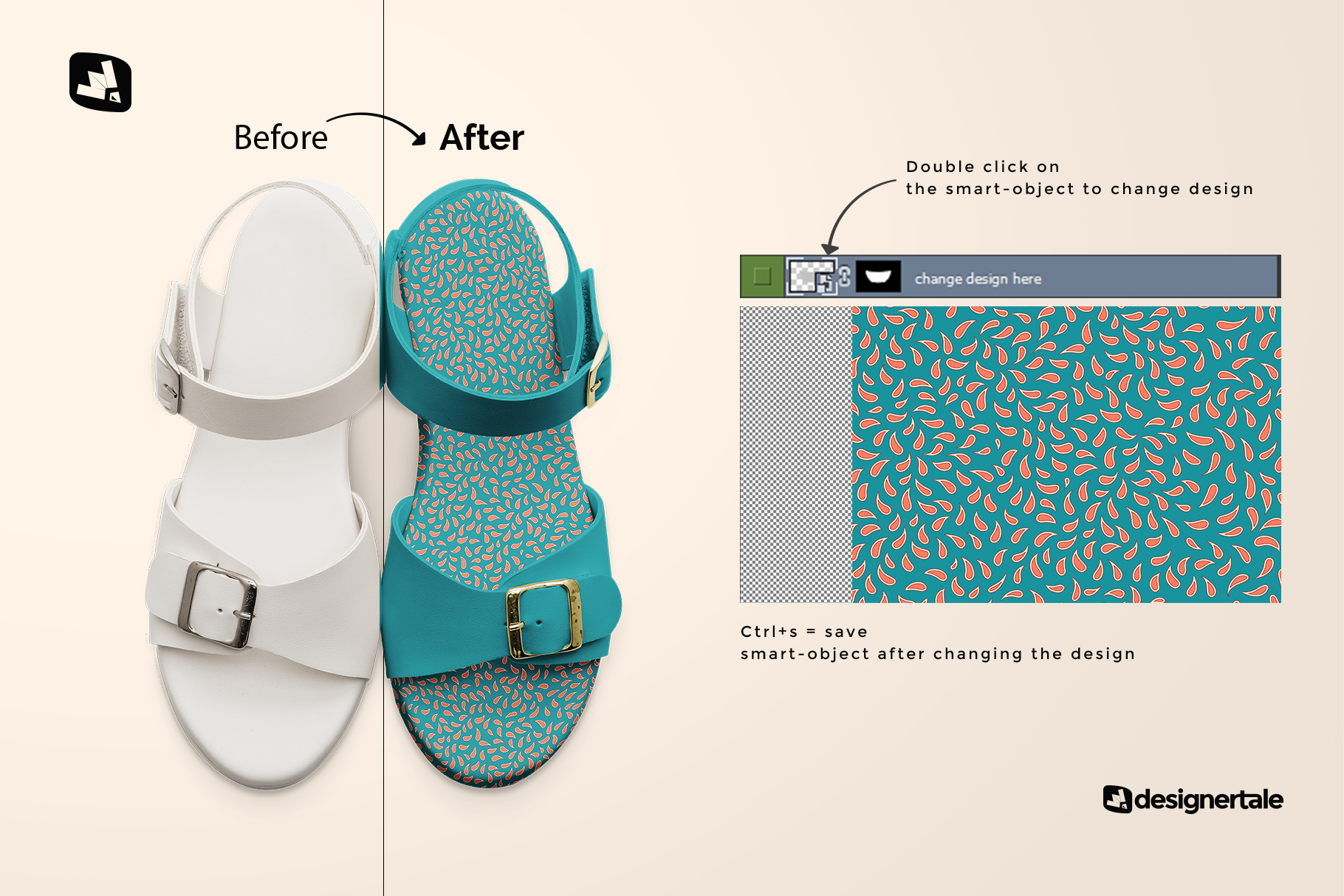 how to chang edesign of the top view leather sandal mockup