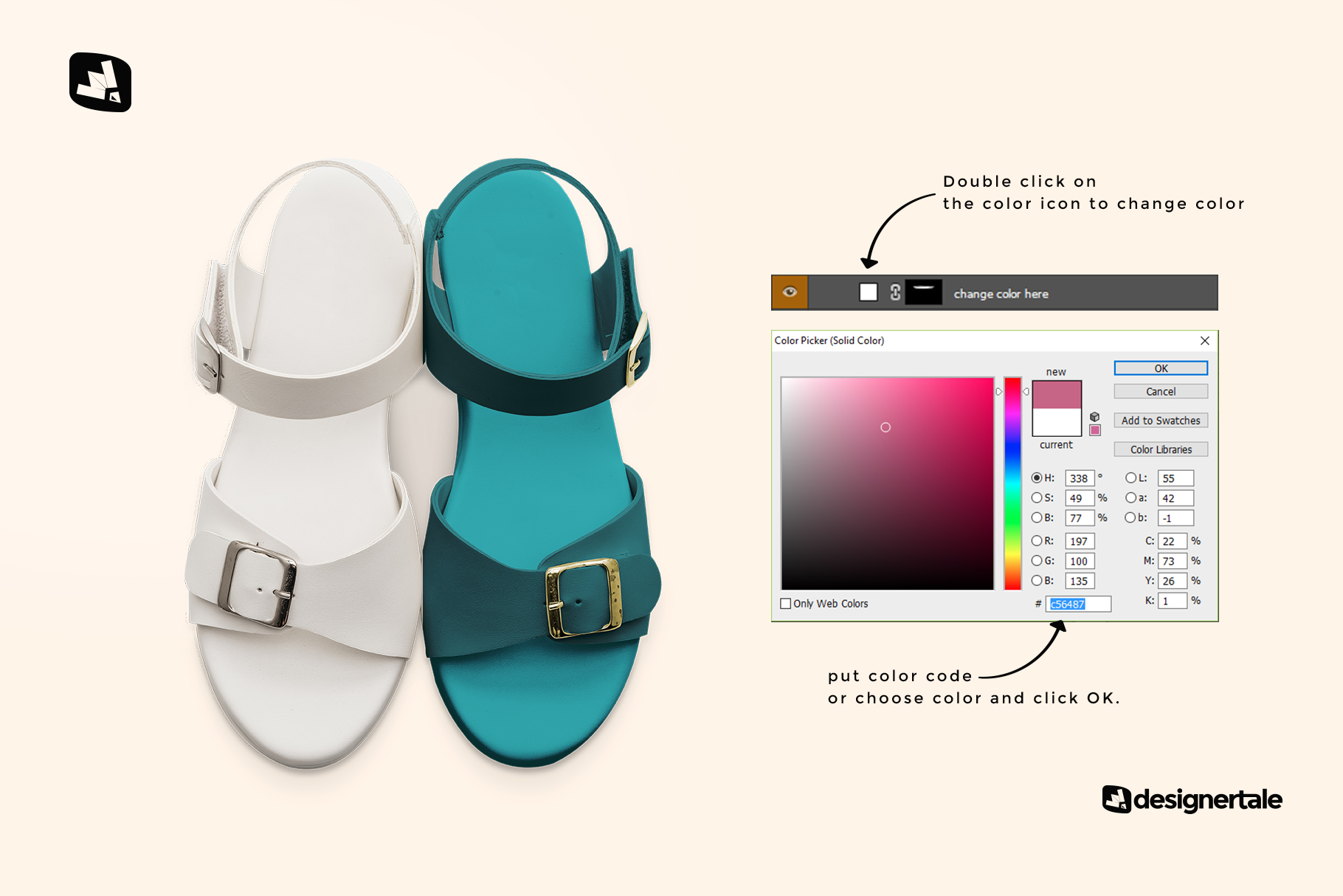 how to change color of the top view leather sandal mockup