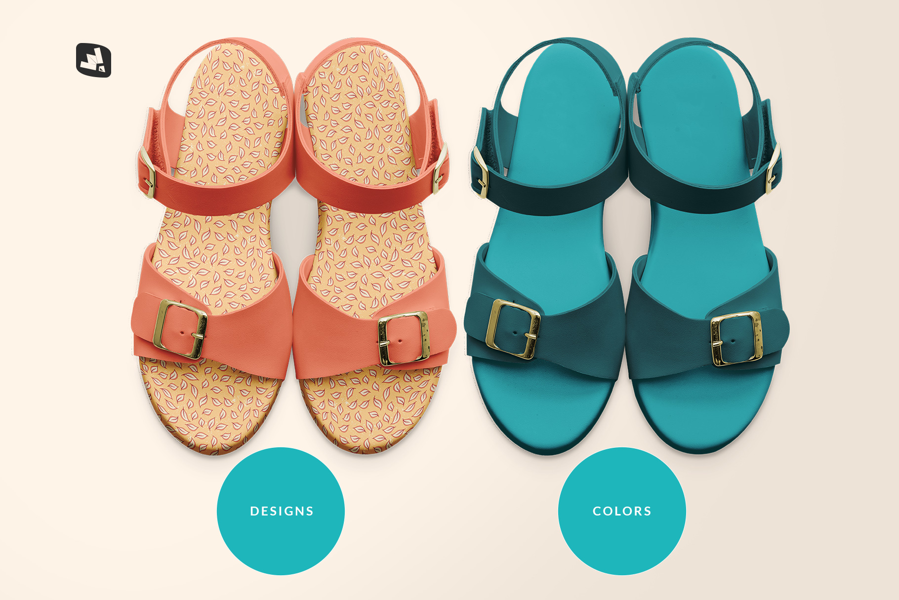 types of the top view leather sandal mockup