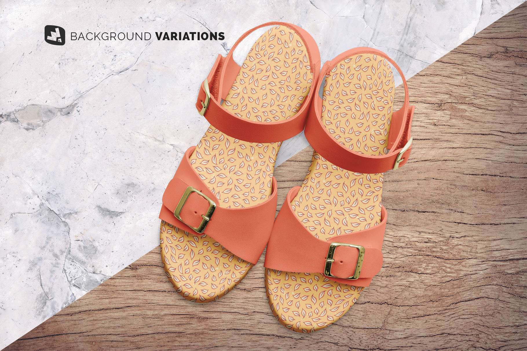 background options of the top view leather sandal mockup