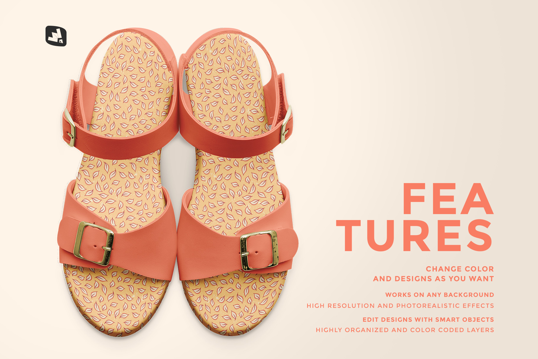 features of the top view leather sandal mockup