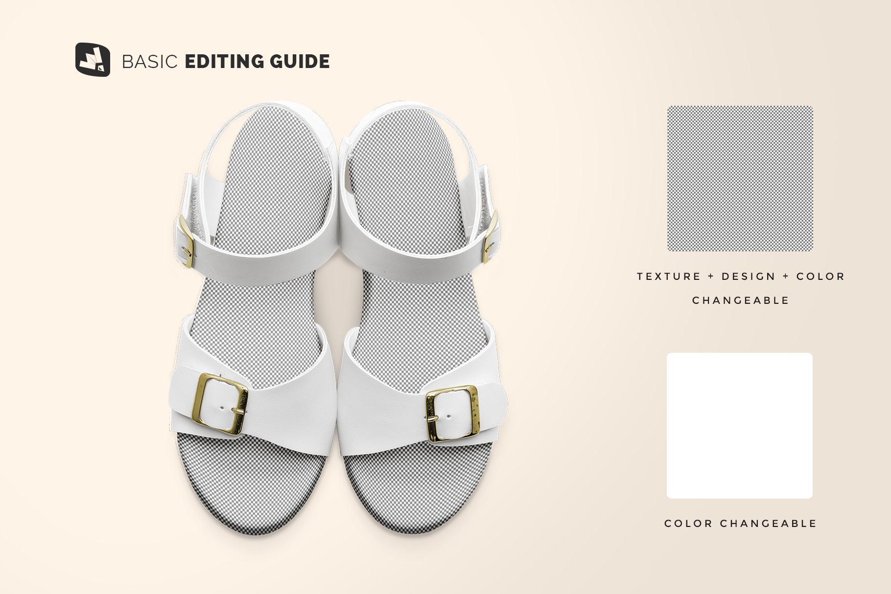 editability of the top view leather sandal mockup