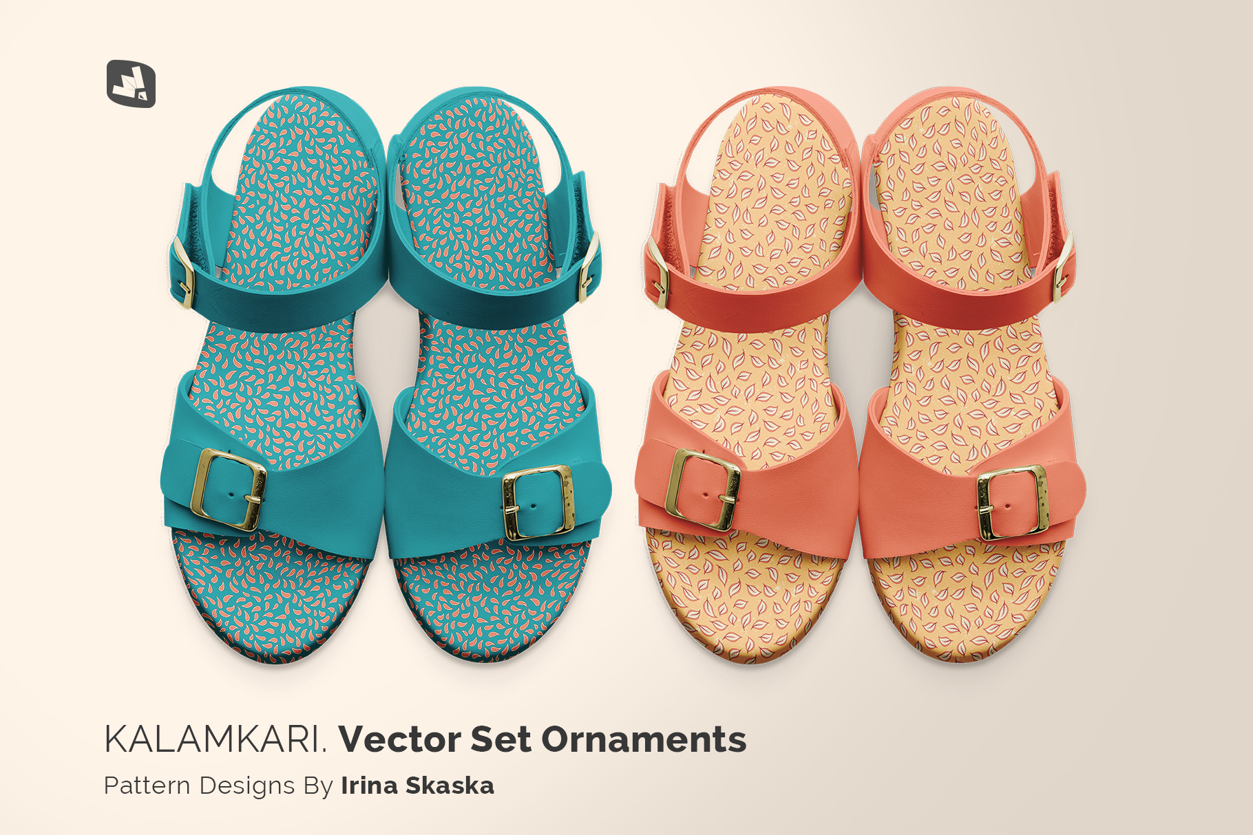 designer's credit of the top view leather sandal mockup