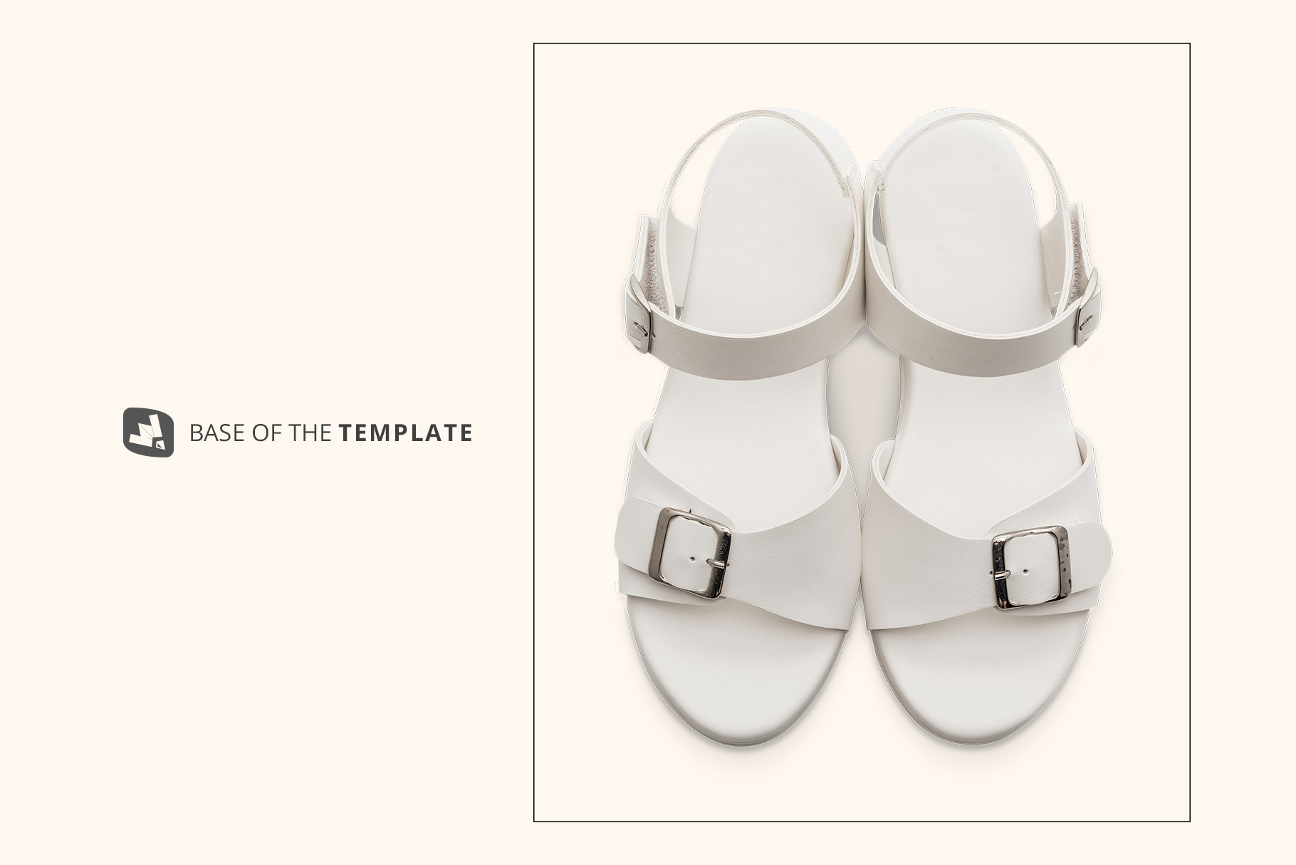base image of the top view leather sandal mockup