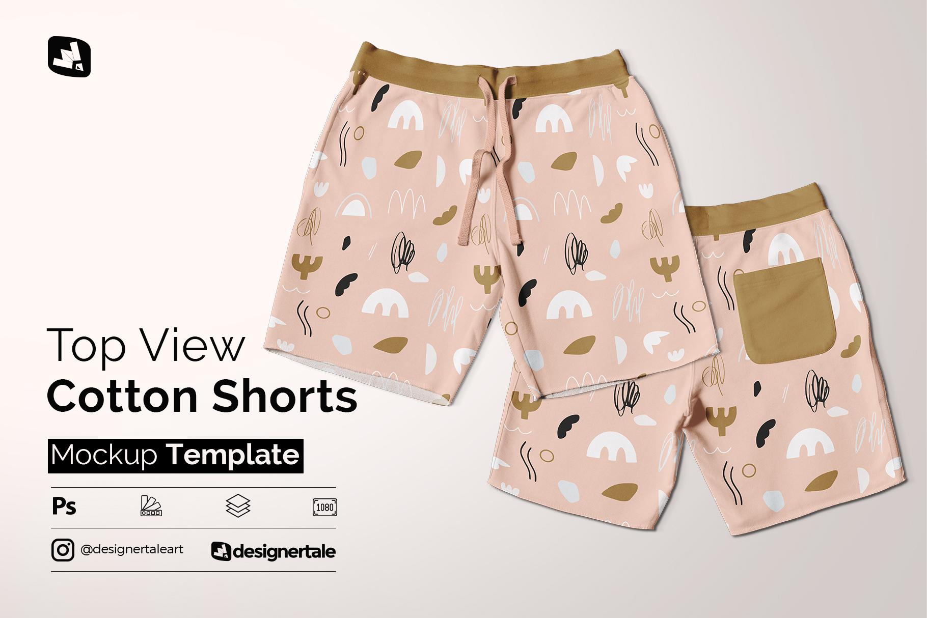 top view cotton shorts mockup