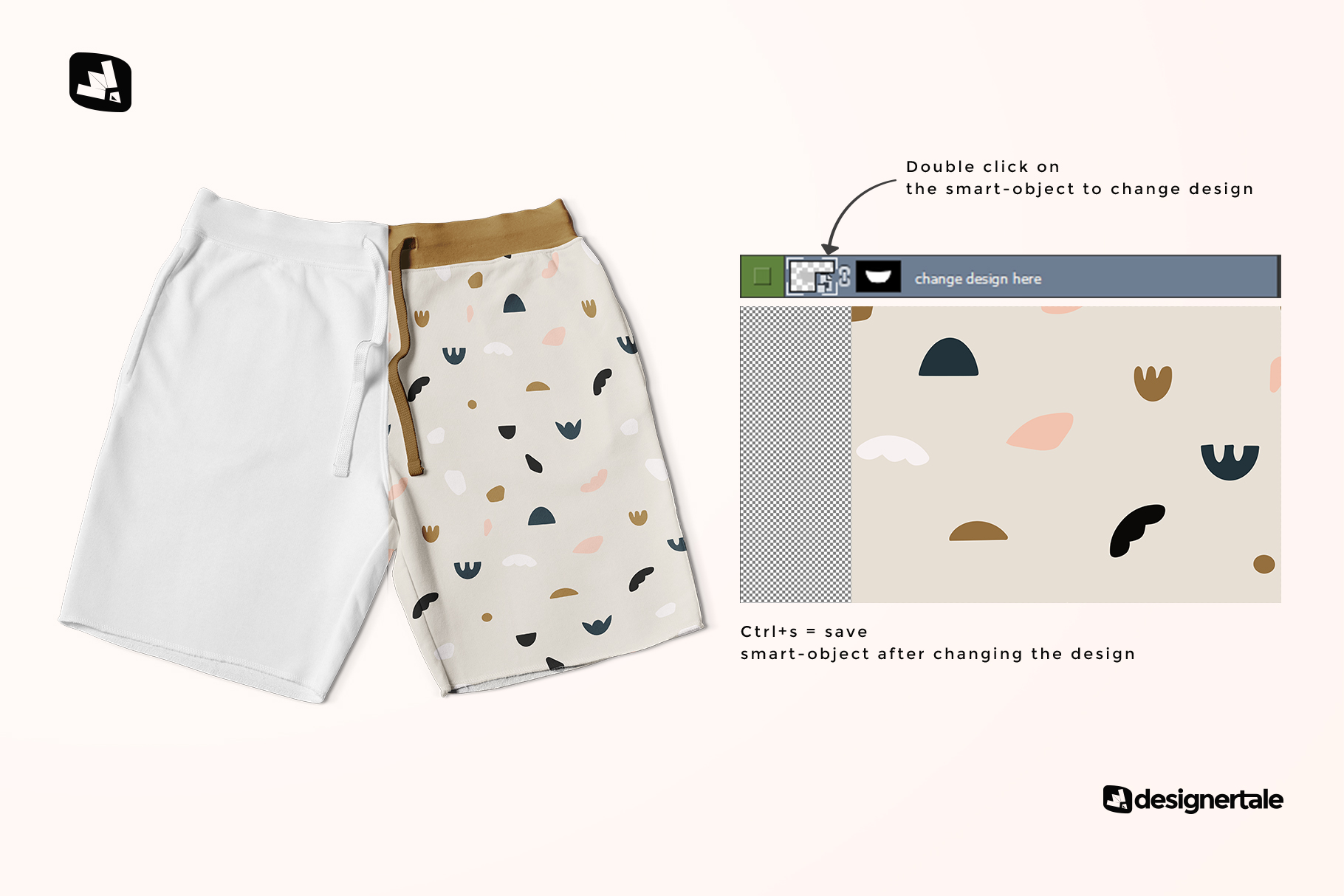 how to chnag edesign of the top view cotton shorts mockup