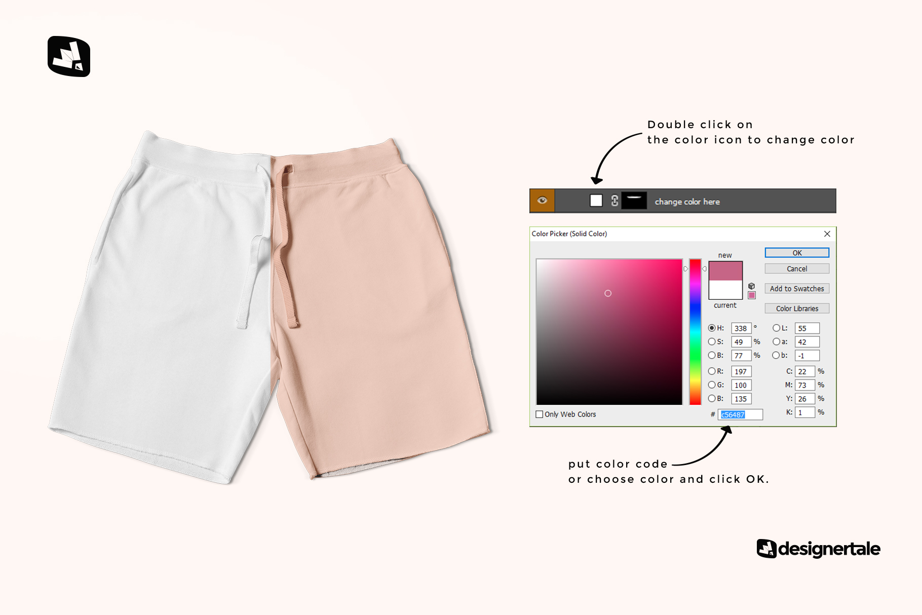 how to change color of the top view cotton shorts mockup