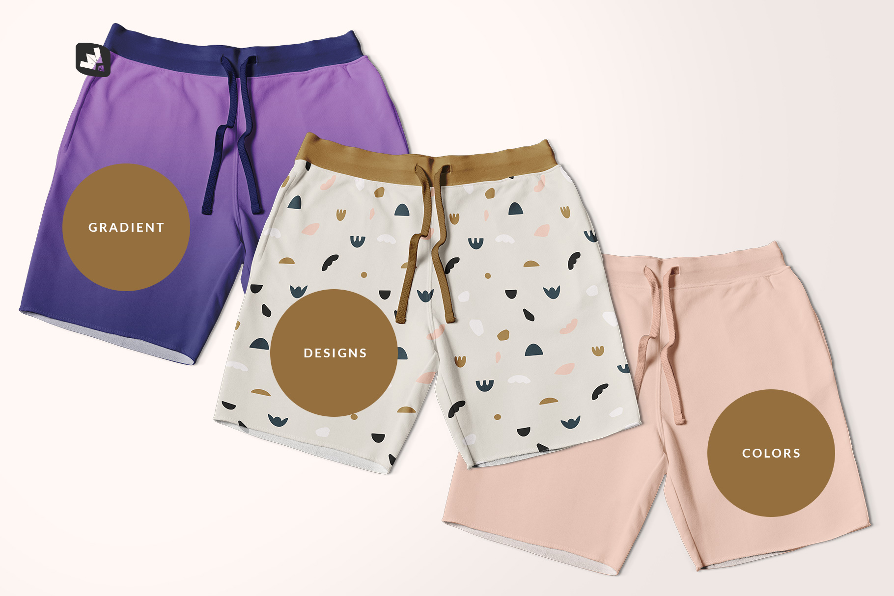 types of the top view cotton shorts mockup