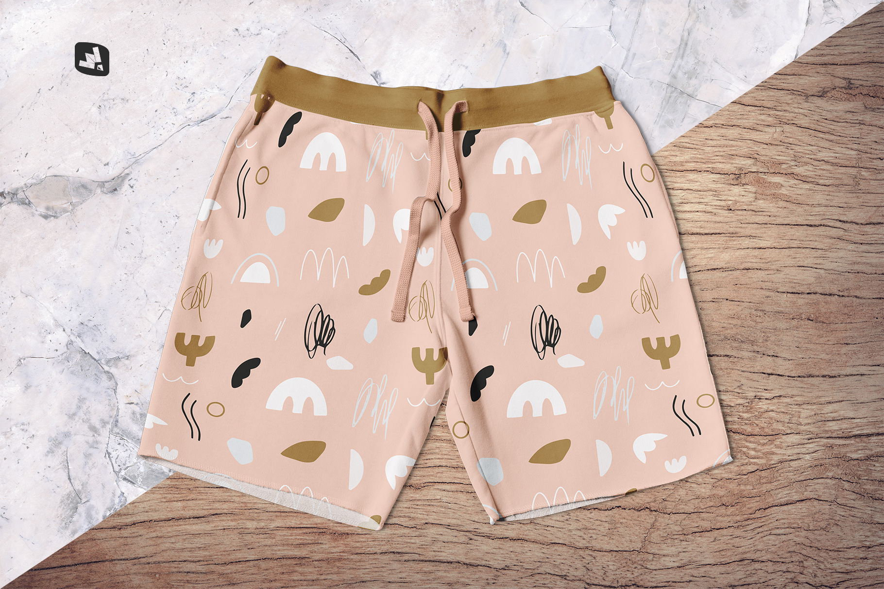 background options of the top view cotton shorts mockup