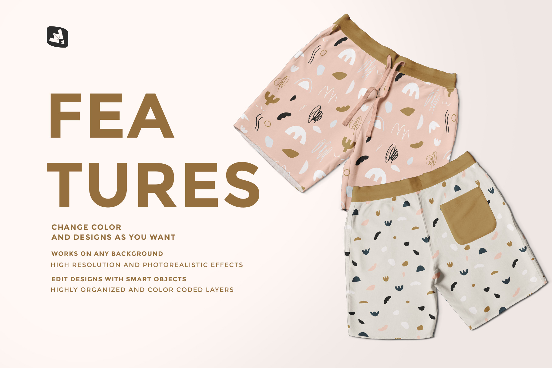 features of the top view cotton shorts mockup
