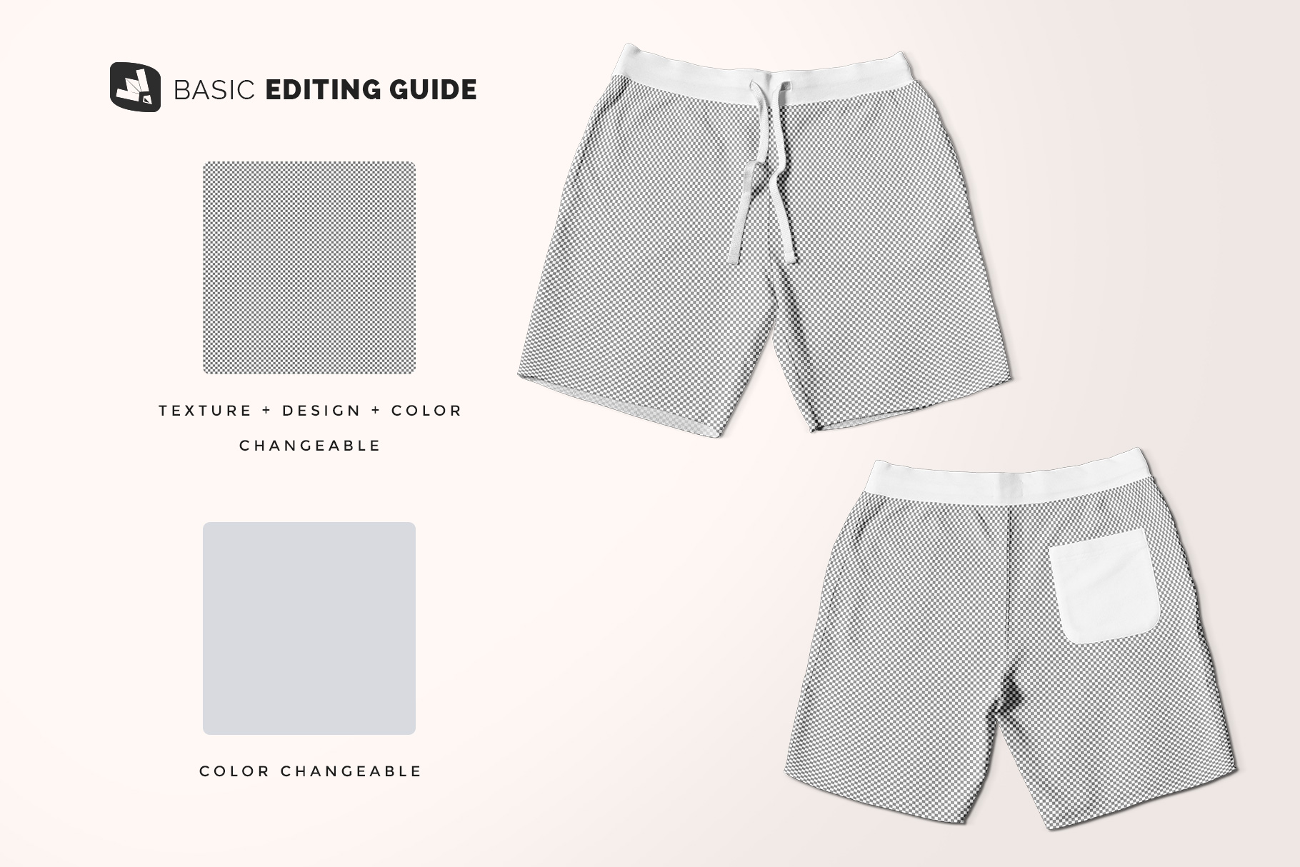 editability of the top view cotton shorts mockup