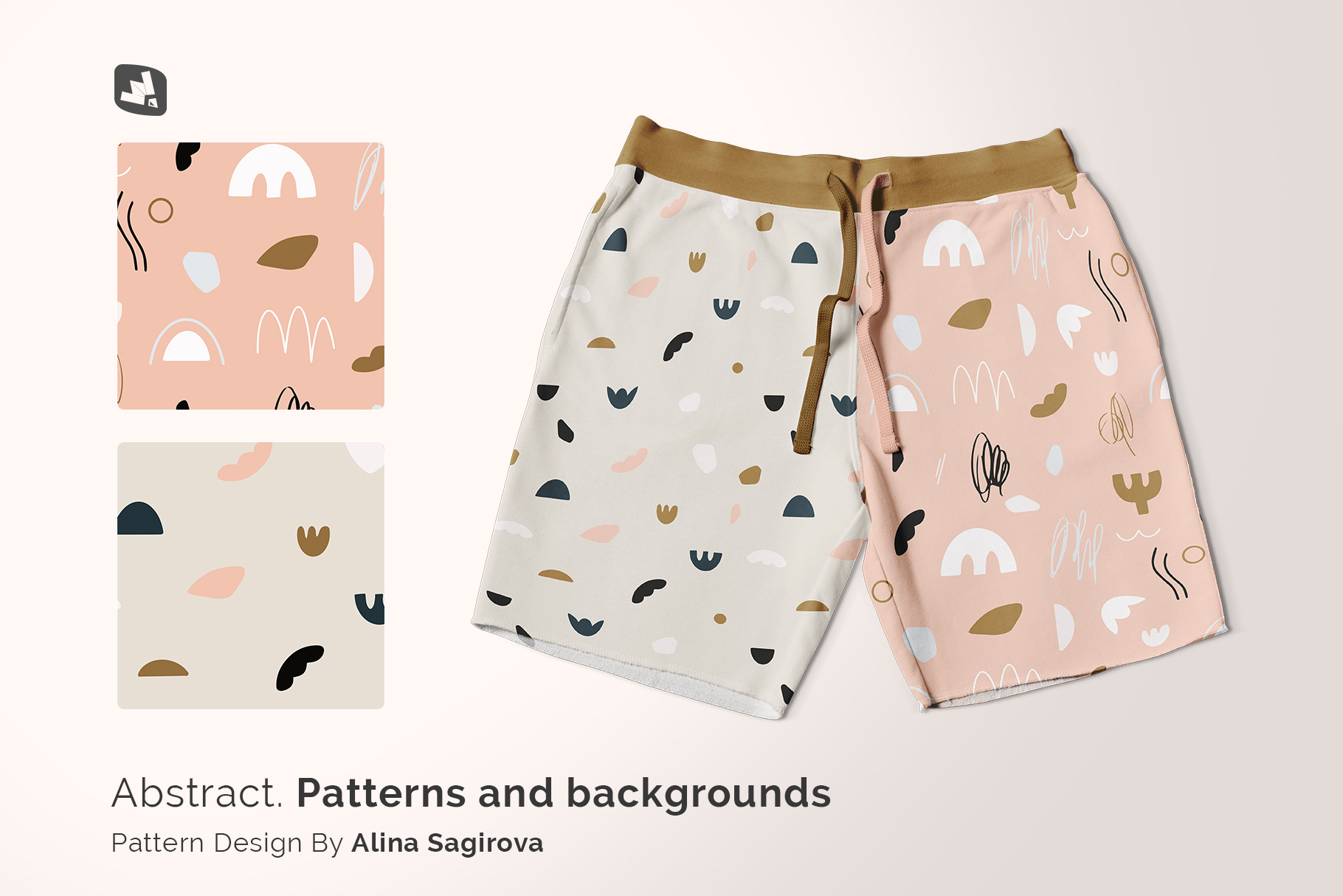 designer's credit of the top view cotton shorts mockup