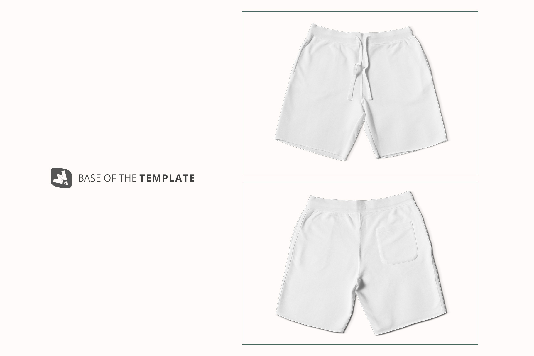 base image of the top view cotton shorts mockup