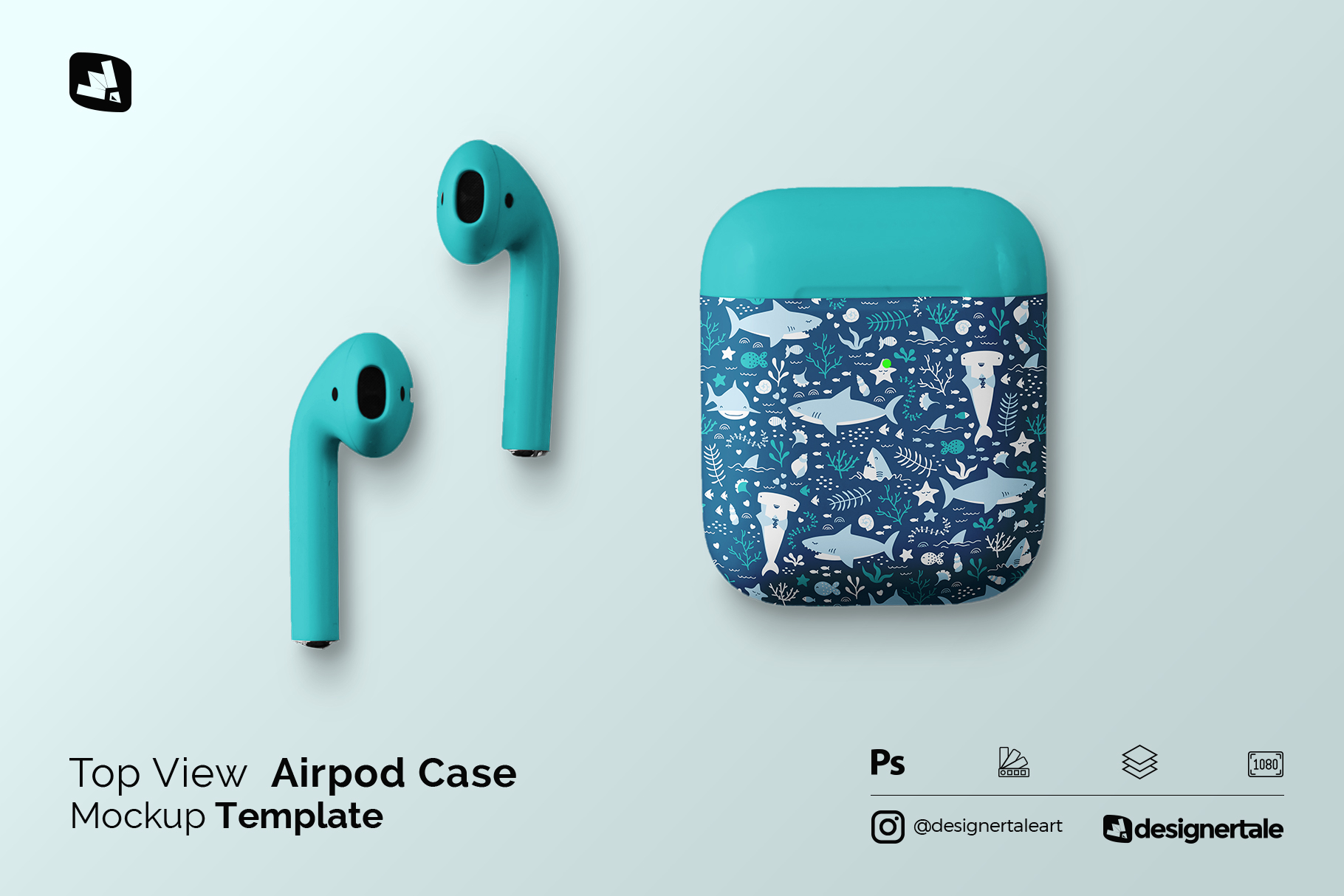 top view airpod case mockup