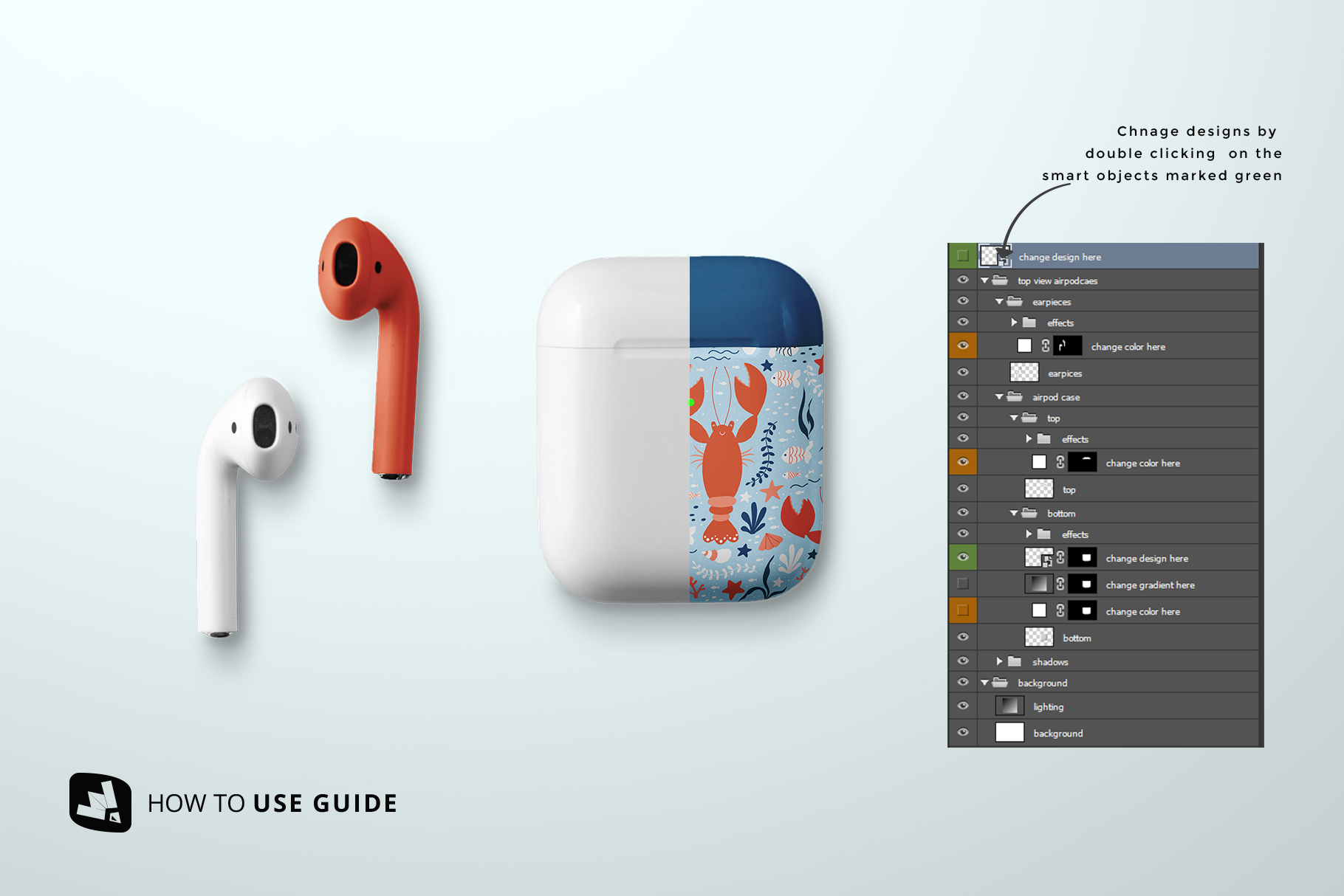 how to change design of the top view airpod case mockup