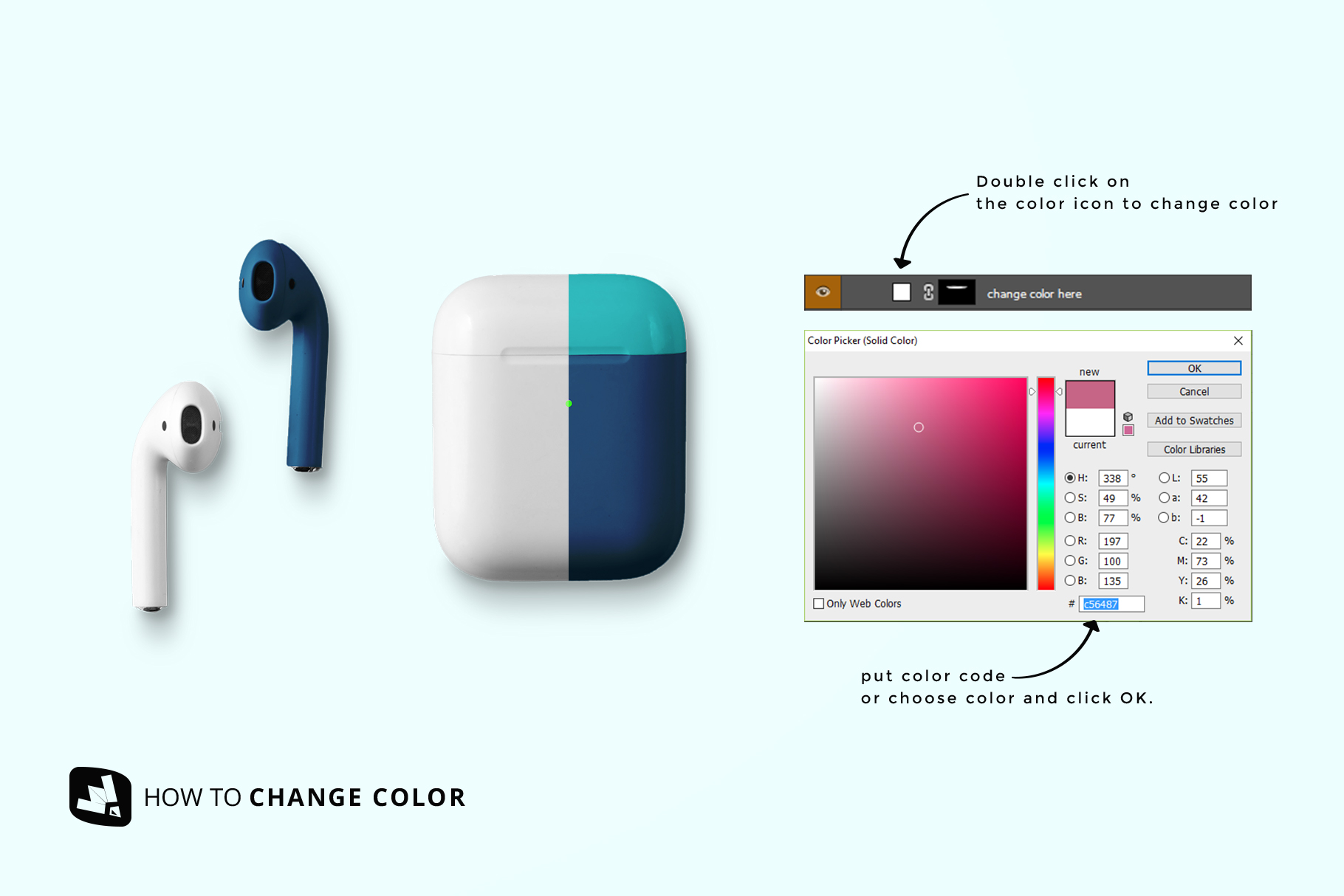how to change color of the top view airpod case mockup