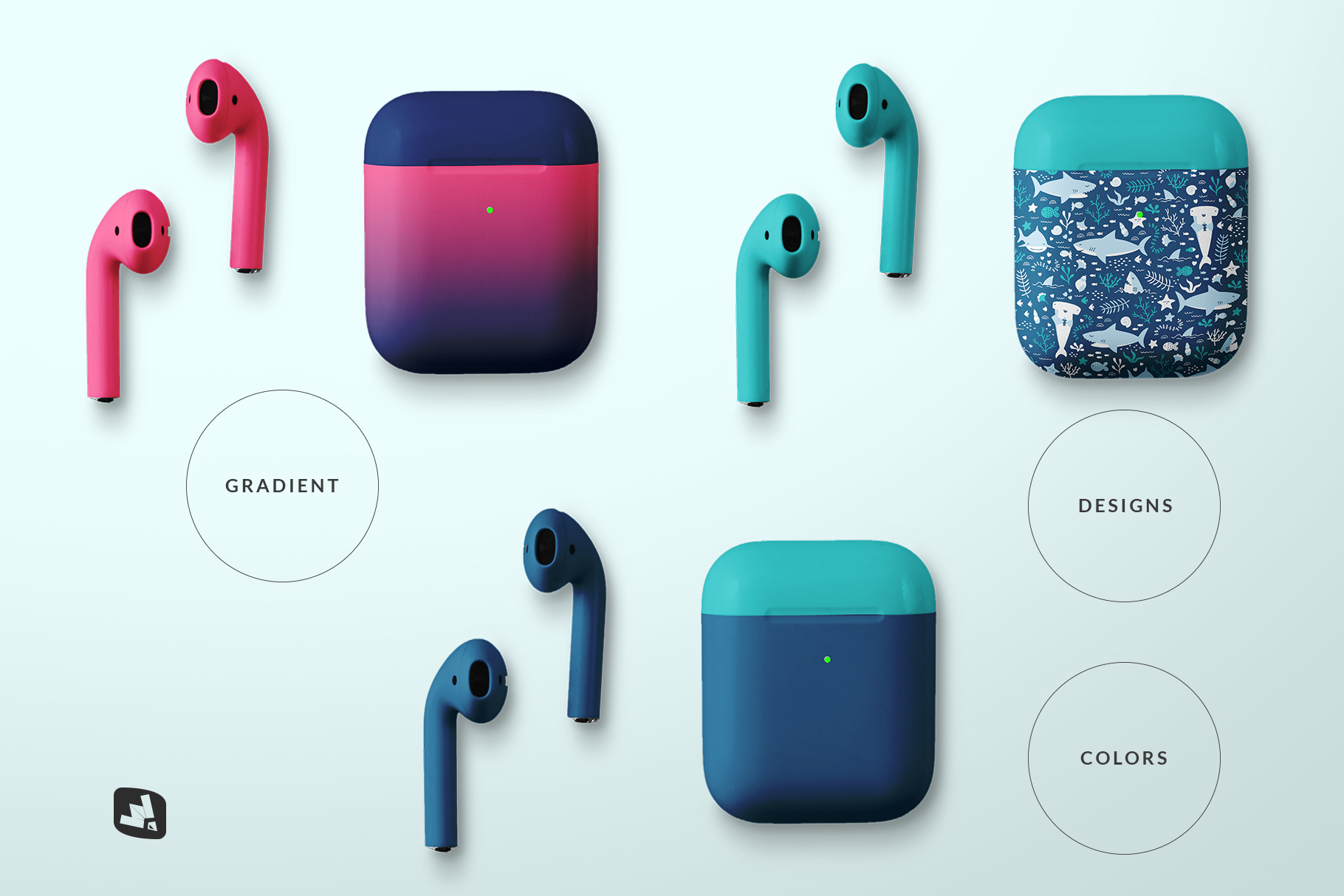 types of the top view airpod case mockup