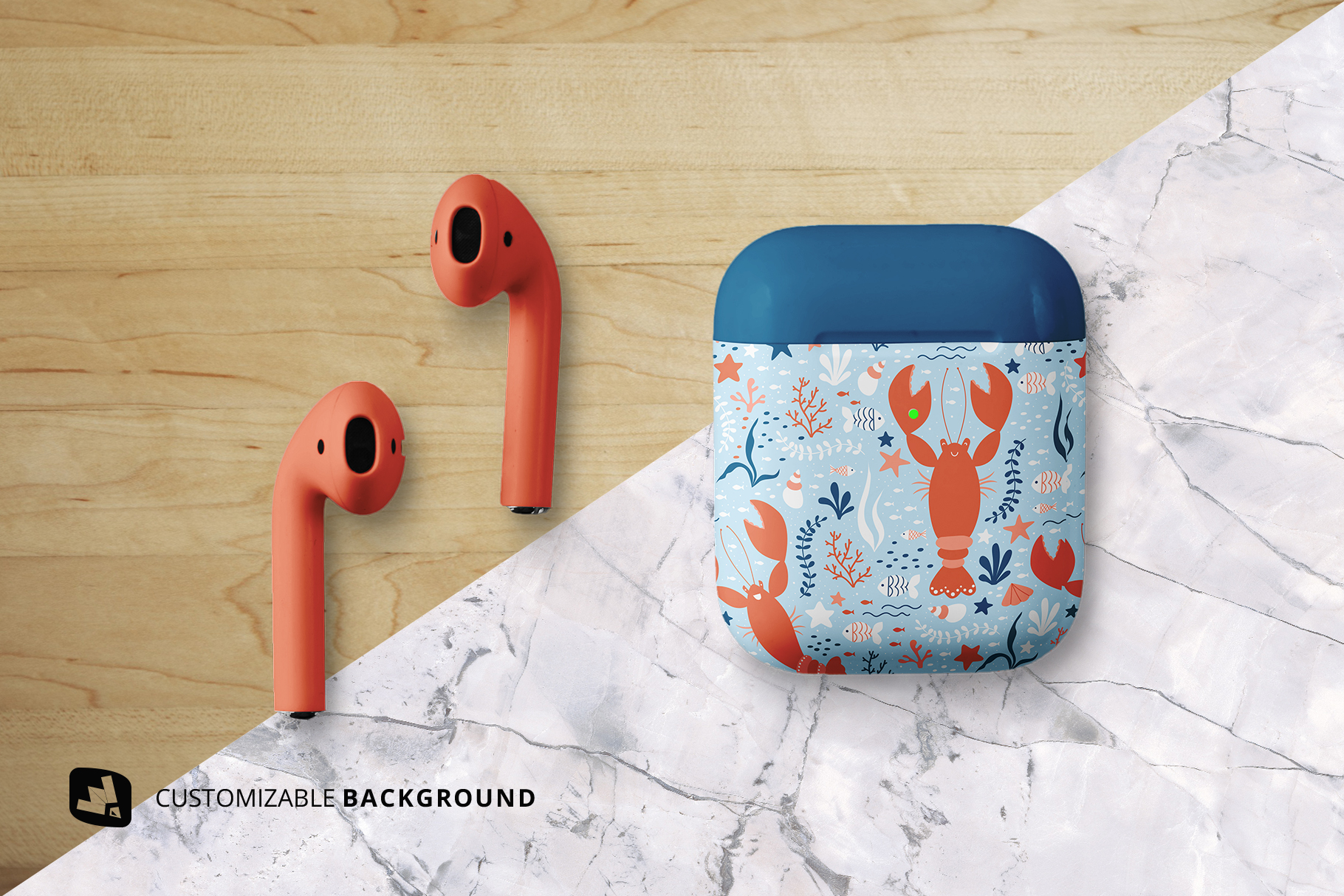 background options of the top view airpod case mockup